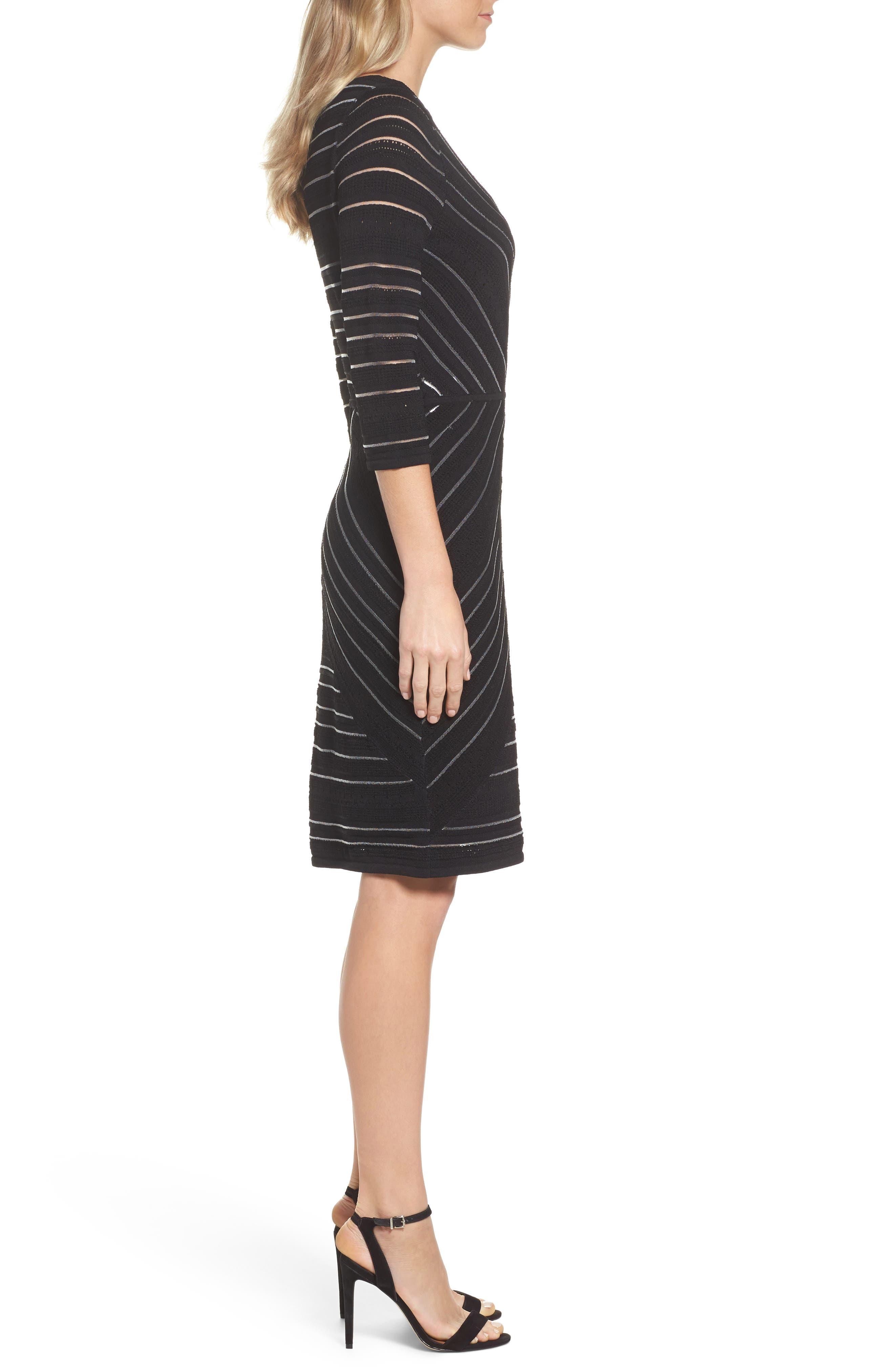 NIC+ ZOE Wrapped Up Sheath Dress,                             Alternate thumbnail 3, color,                             Black Onyx