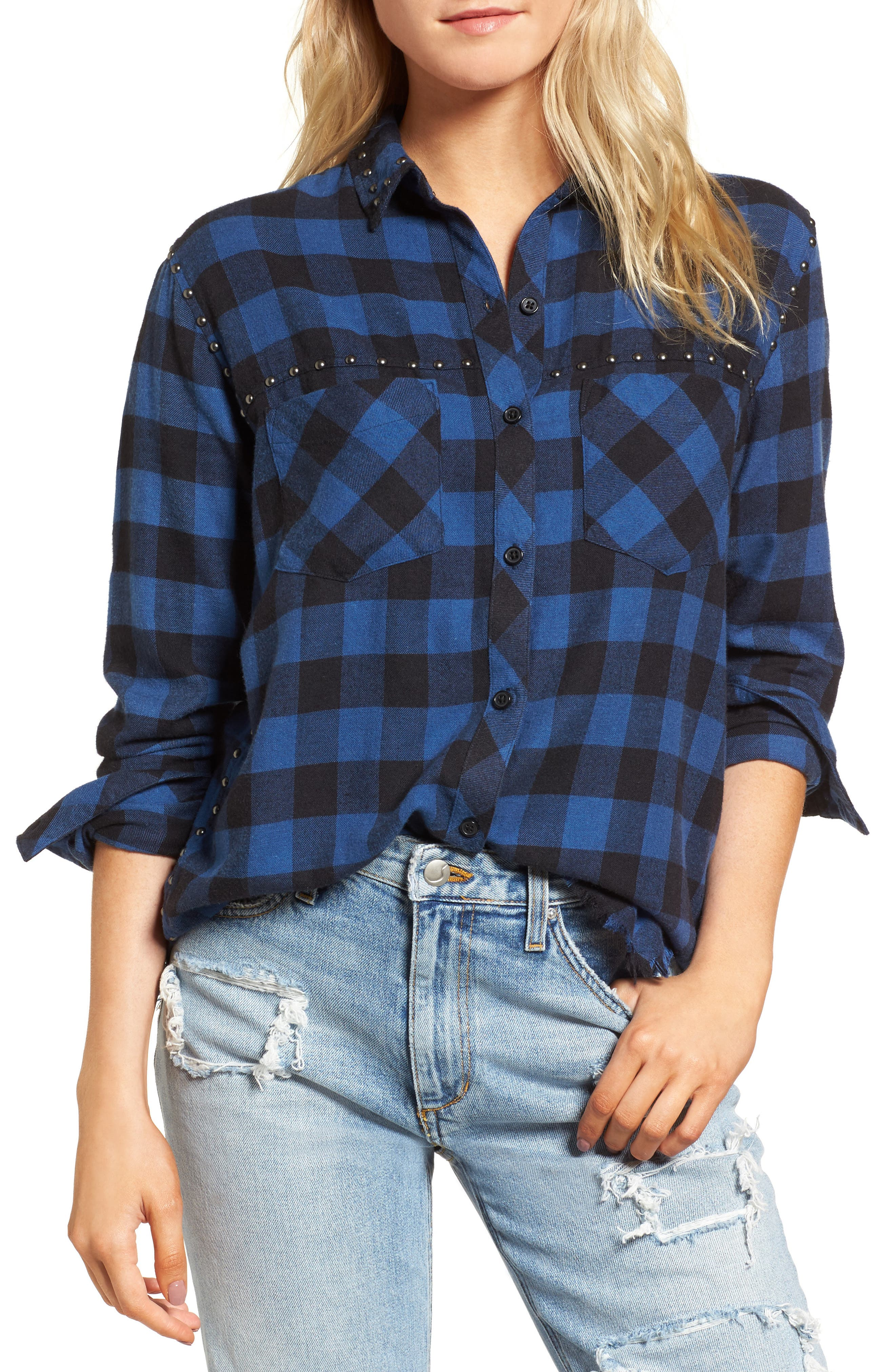 Rex Studded Flannel Shirt,                             Main thumbnail 1, color,                             Blue/ Black Check