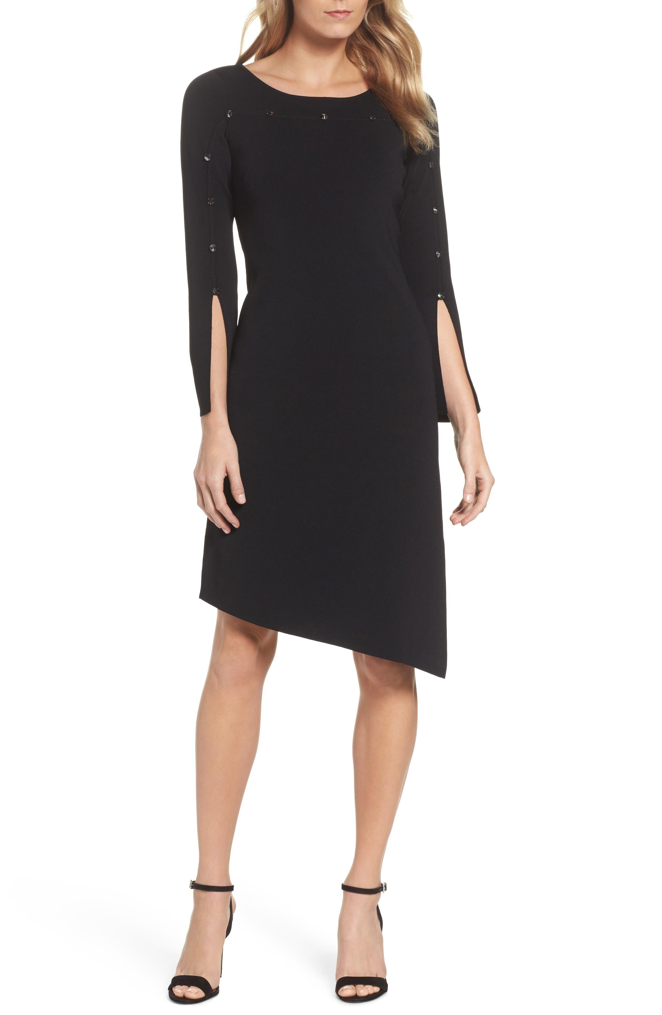 Studded Asymmetrical Dress,                         Main,                         color, Black Onyx