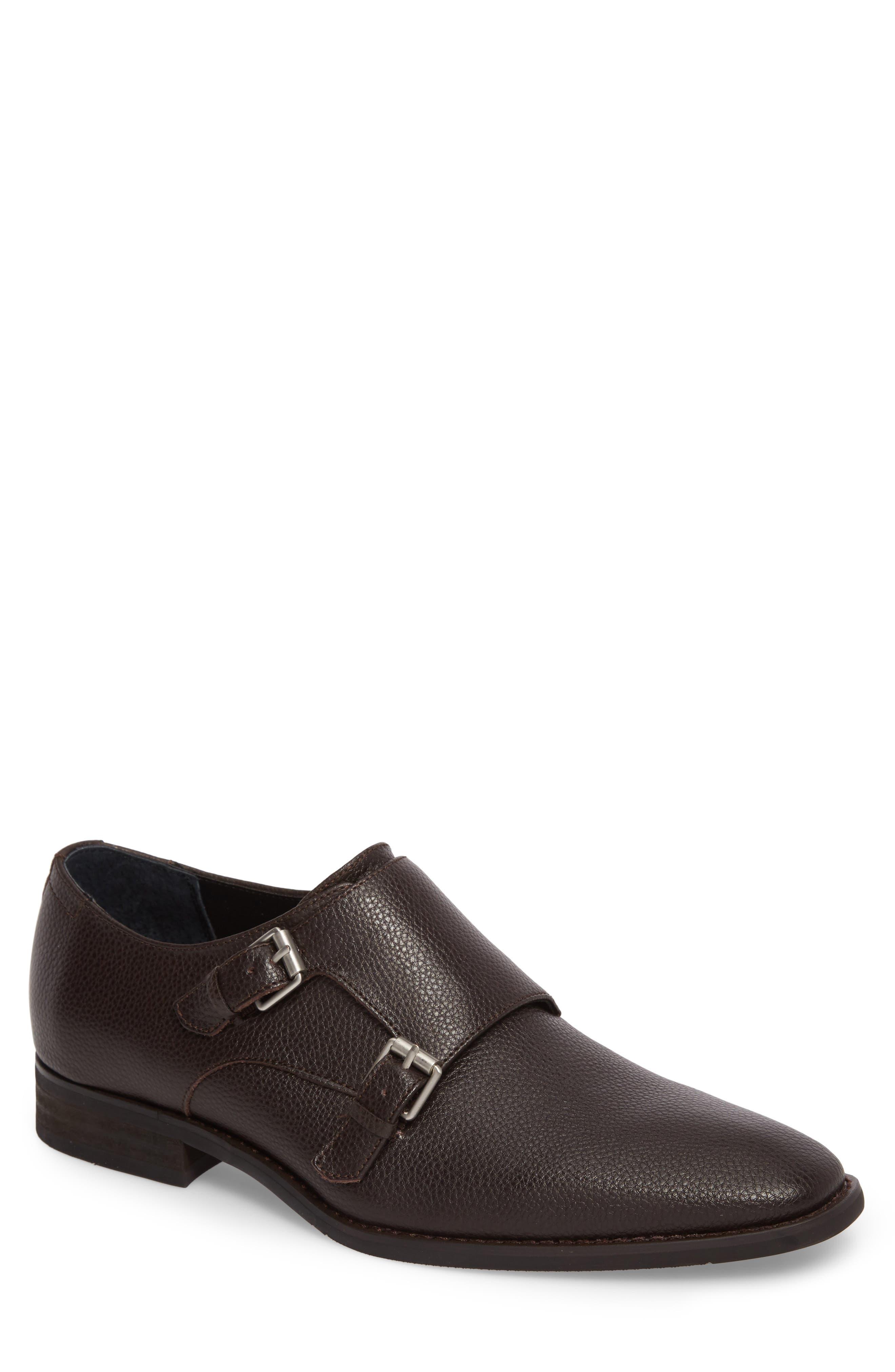 Robbie Double Monk Strap Shoe,                             Main thumbnail 1, color,                             Dark Brown Leather