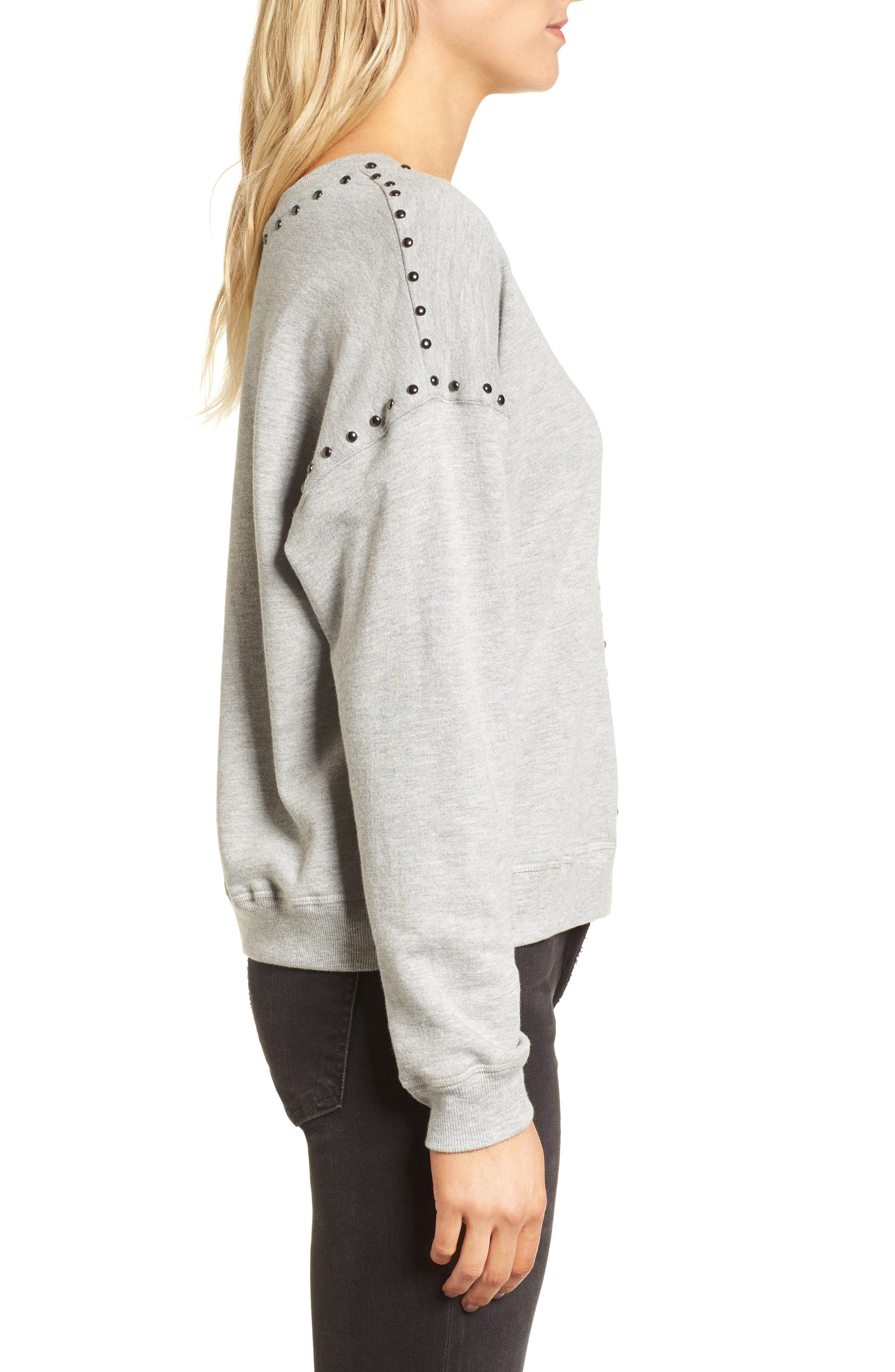 Wilson Studded Sweatshirt,                             Alternate thumbnail 3, color,                             Heather Grey