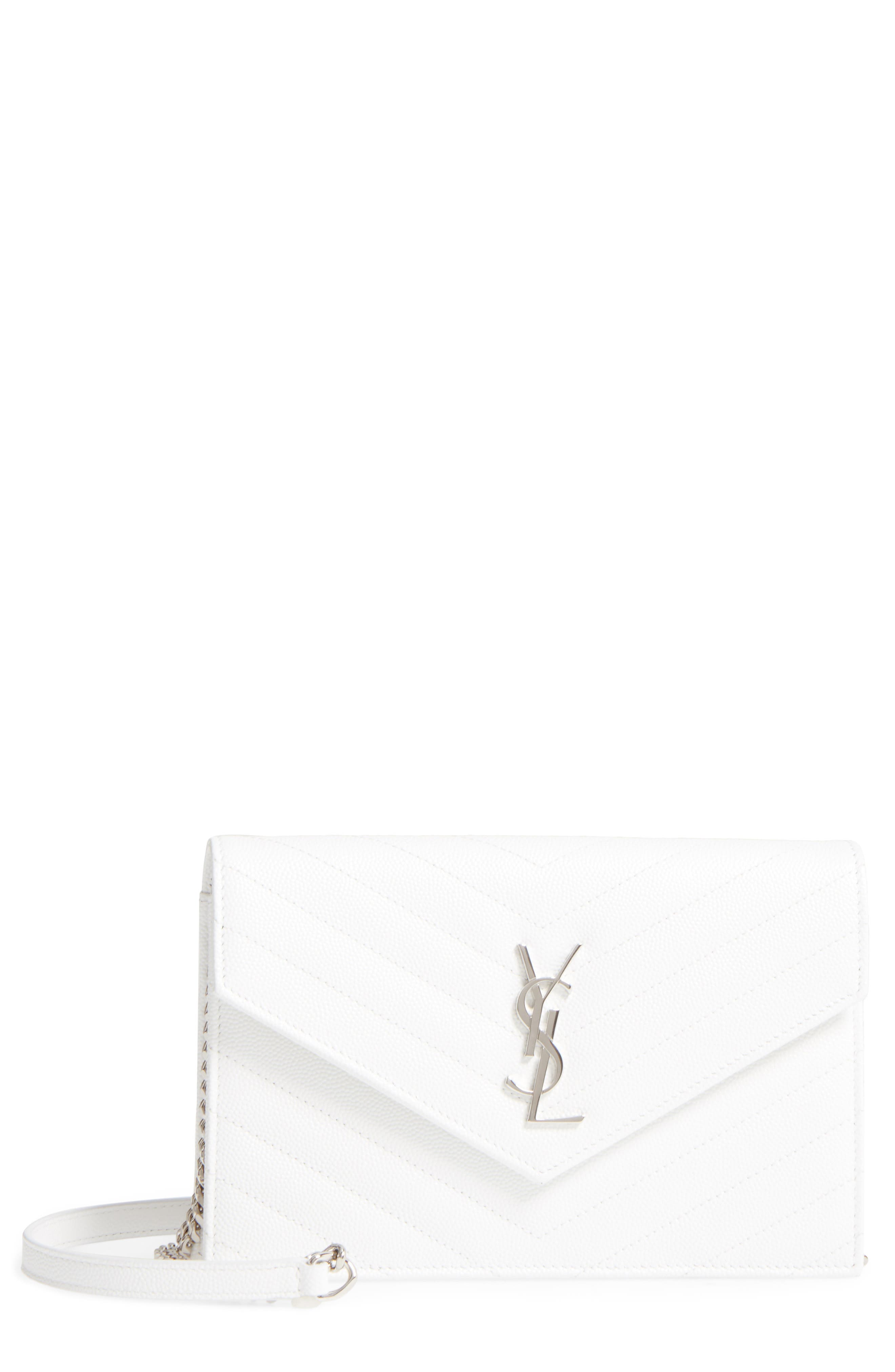Saint Laurent Quilted Calfskin Leather Wallet on a Chain