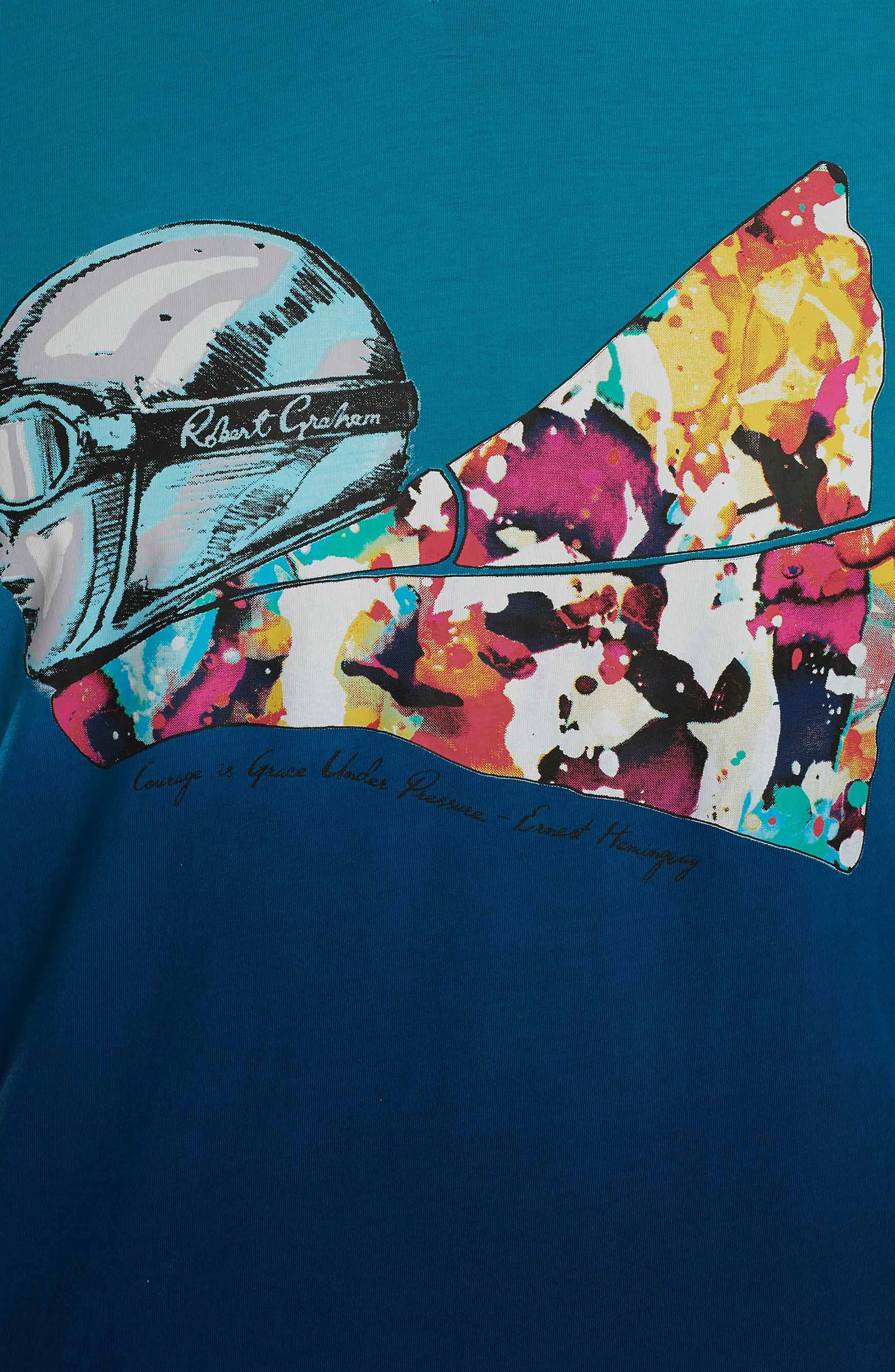 Into the Wind Knit Graphic T-Shirt,                             Alternate thumbnail 3, color,                             Teal