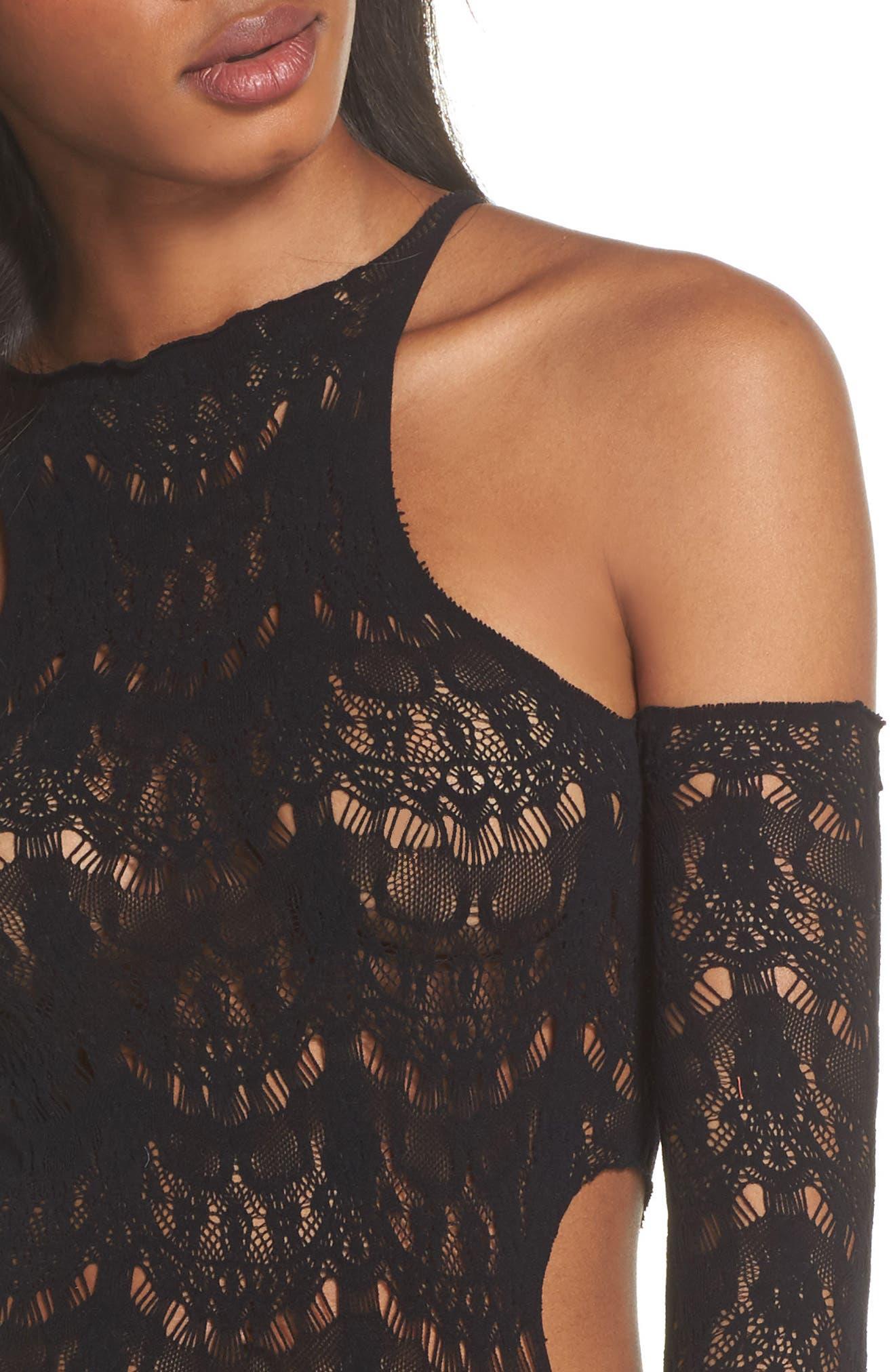 Femme Bonita Cold Shoulder Lace Bodysuit,                             Alternate thumbnail 5, color,                             Black