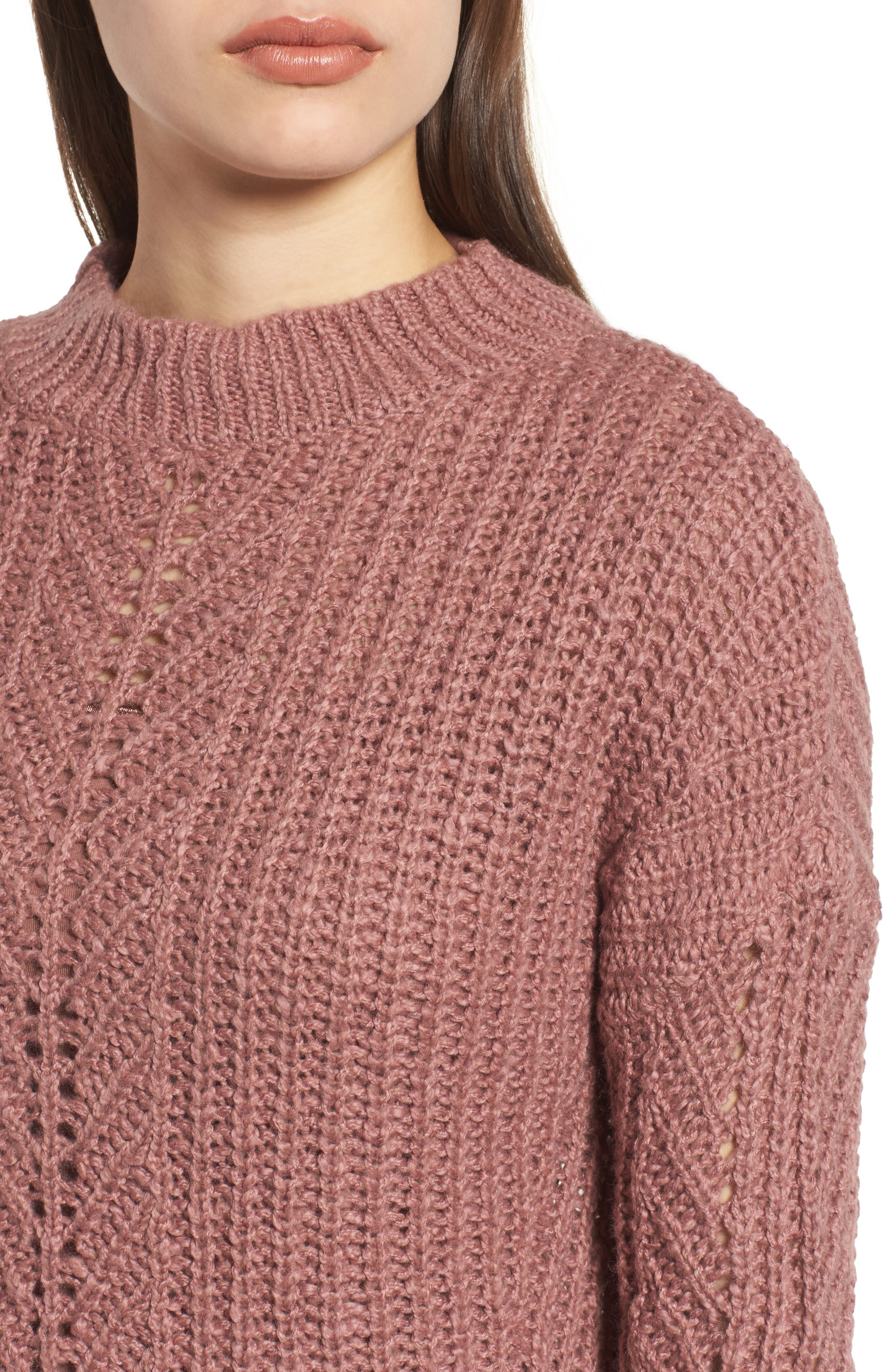Open Stitch Sweater,                             Alternate thumbnail 4, color,                             Dusty Pink