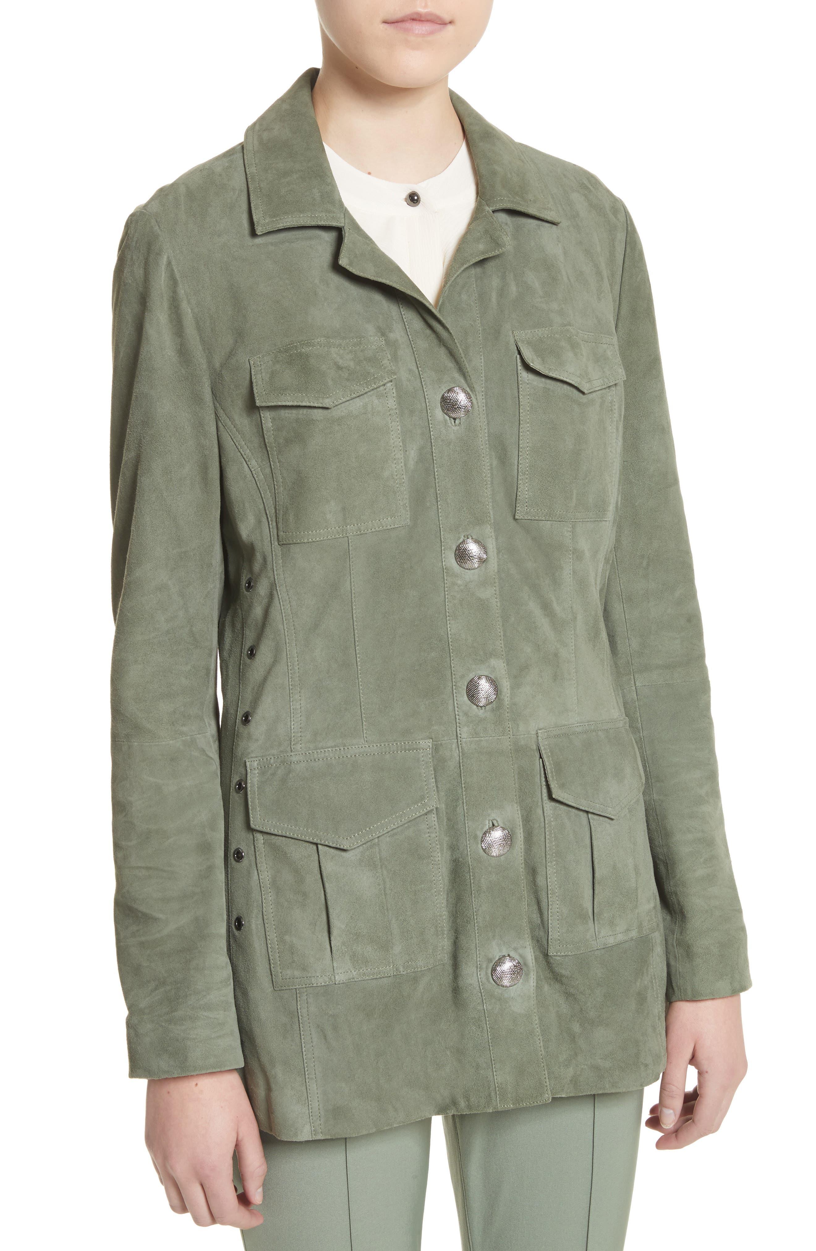 Suede Safari Jacket,                             Alternate thumbnail 4, color,                             Dark Mint