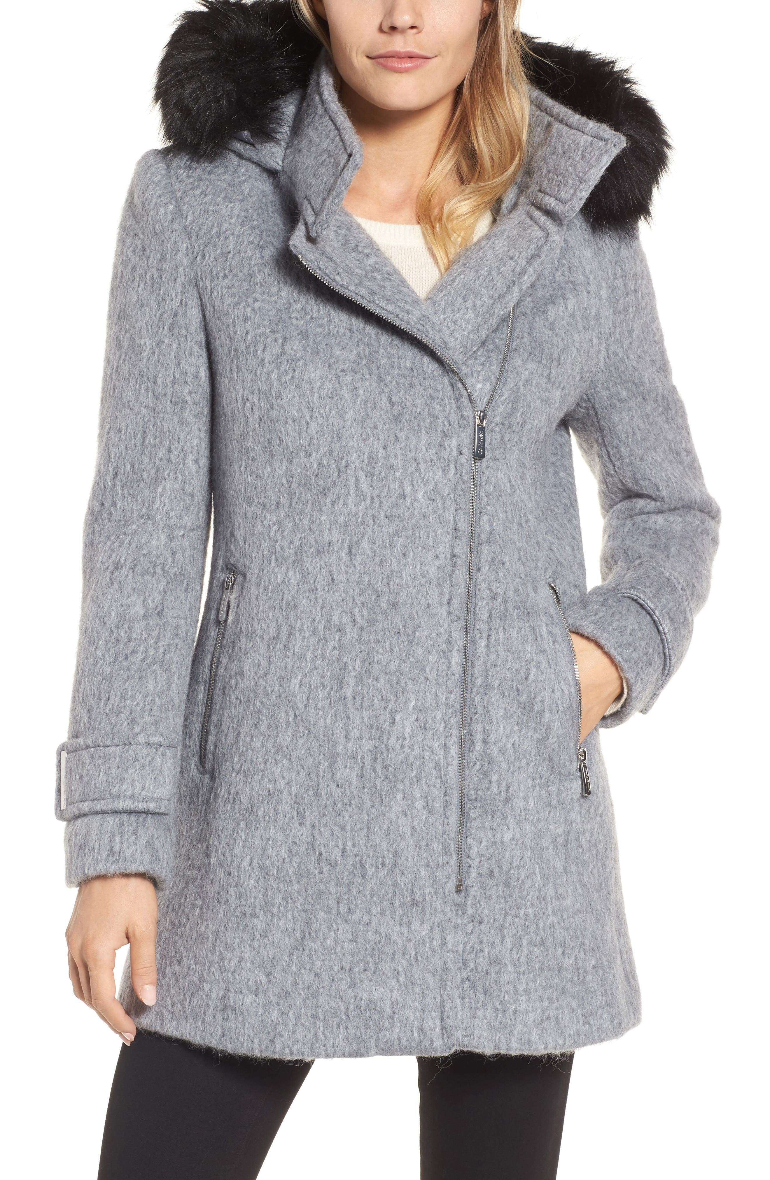 Calvin Klein Hooded Wool Blend Jacket with Faux Fur Trim
