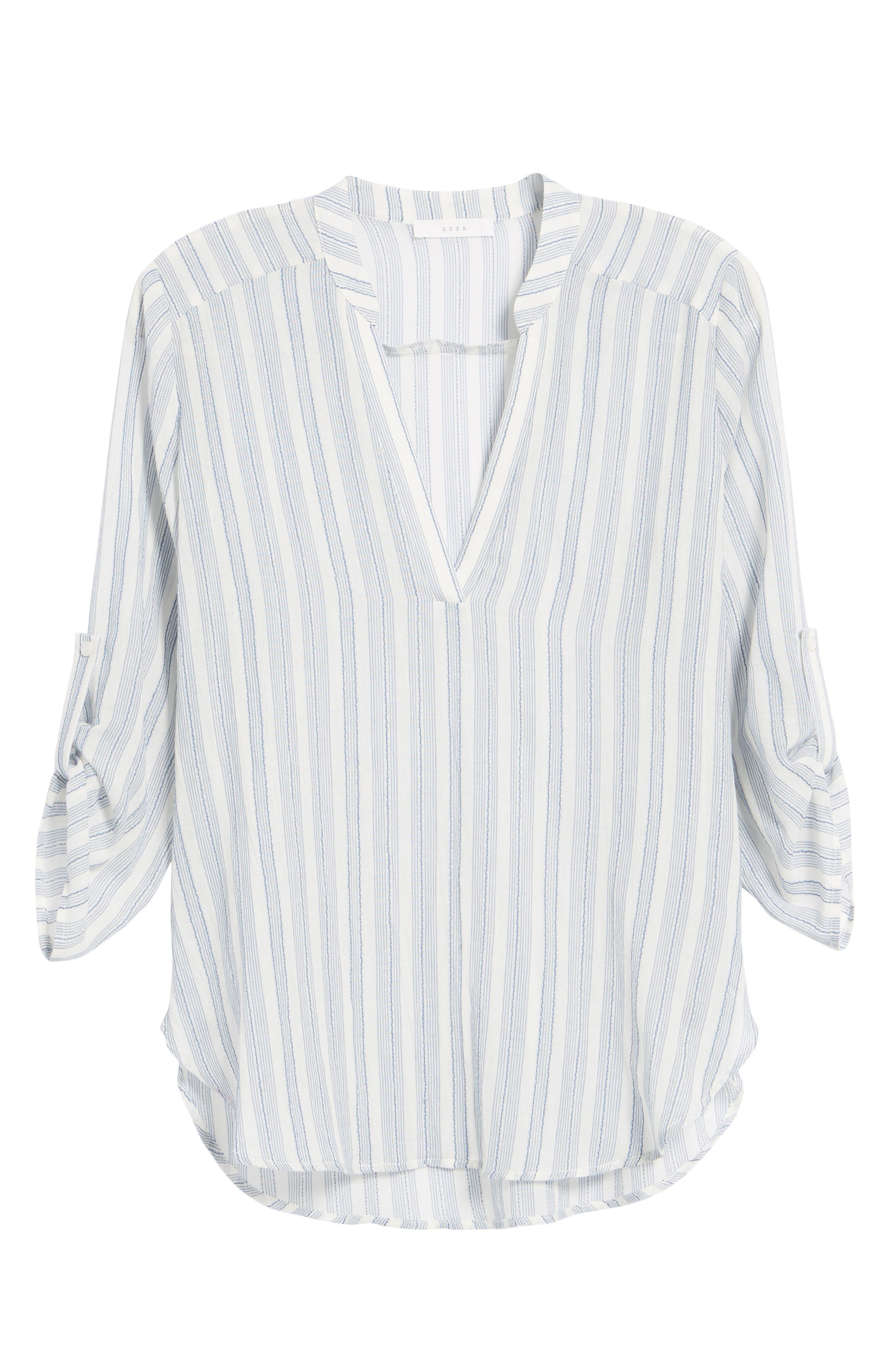 Stripe Cotton Split Neck Top,                             Alternate thumbnail 6, color,                             Blue/ White Stripe