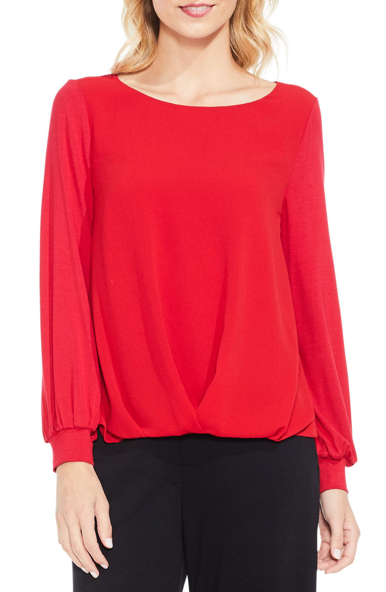 Vince Camuto Long Sleeve Foldover Mix Media Blouse