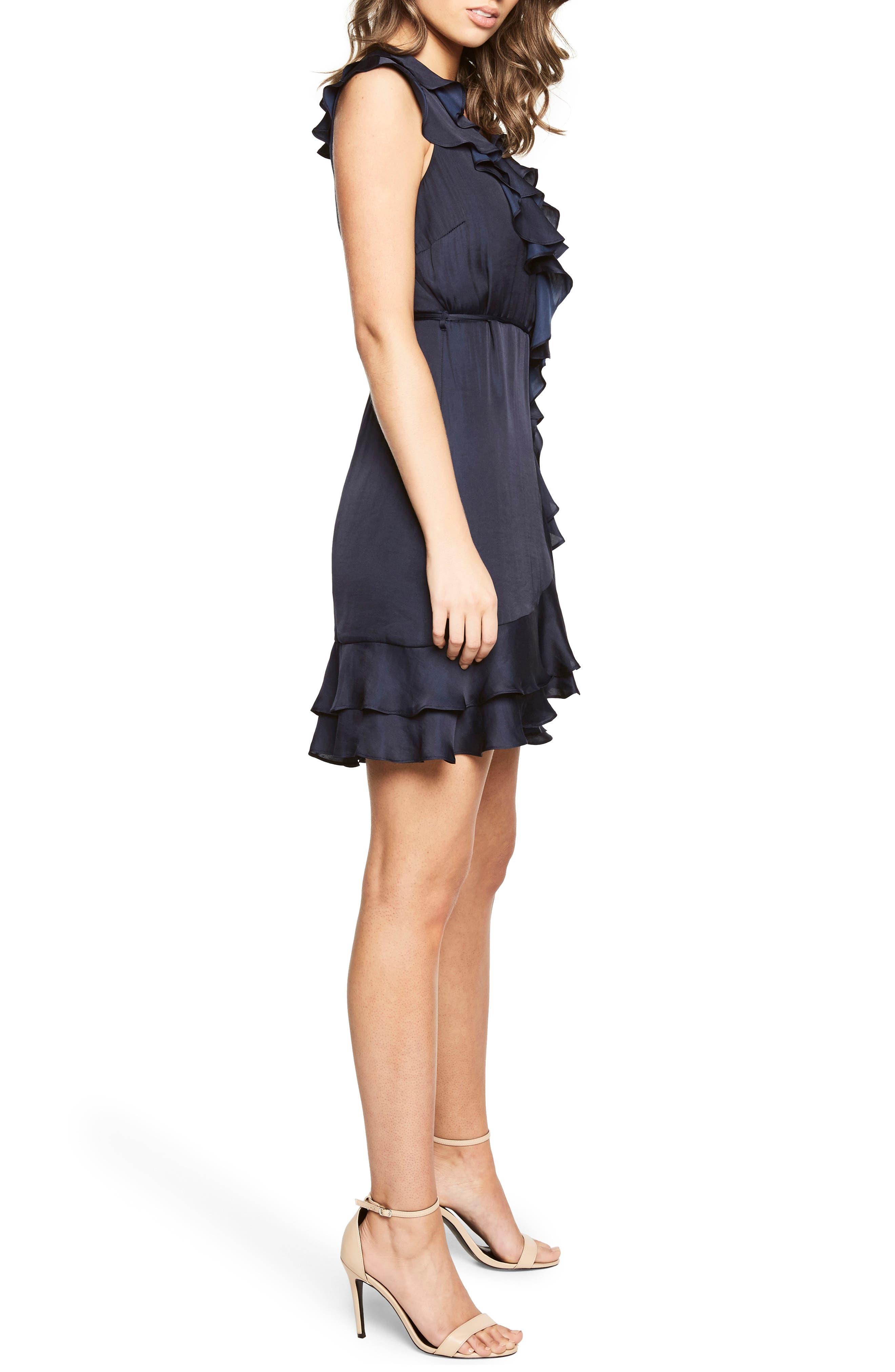 Ruffle Faux Wrap Dress,                             Alternate thumbnail 3, color,                             Navy