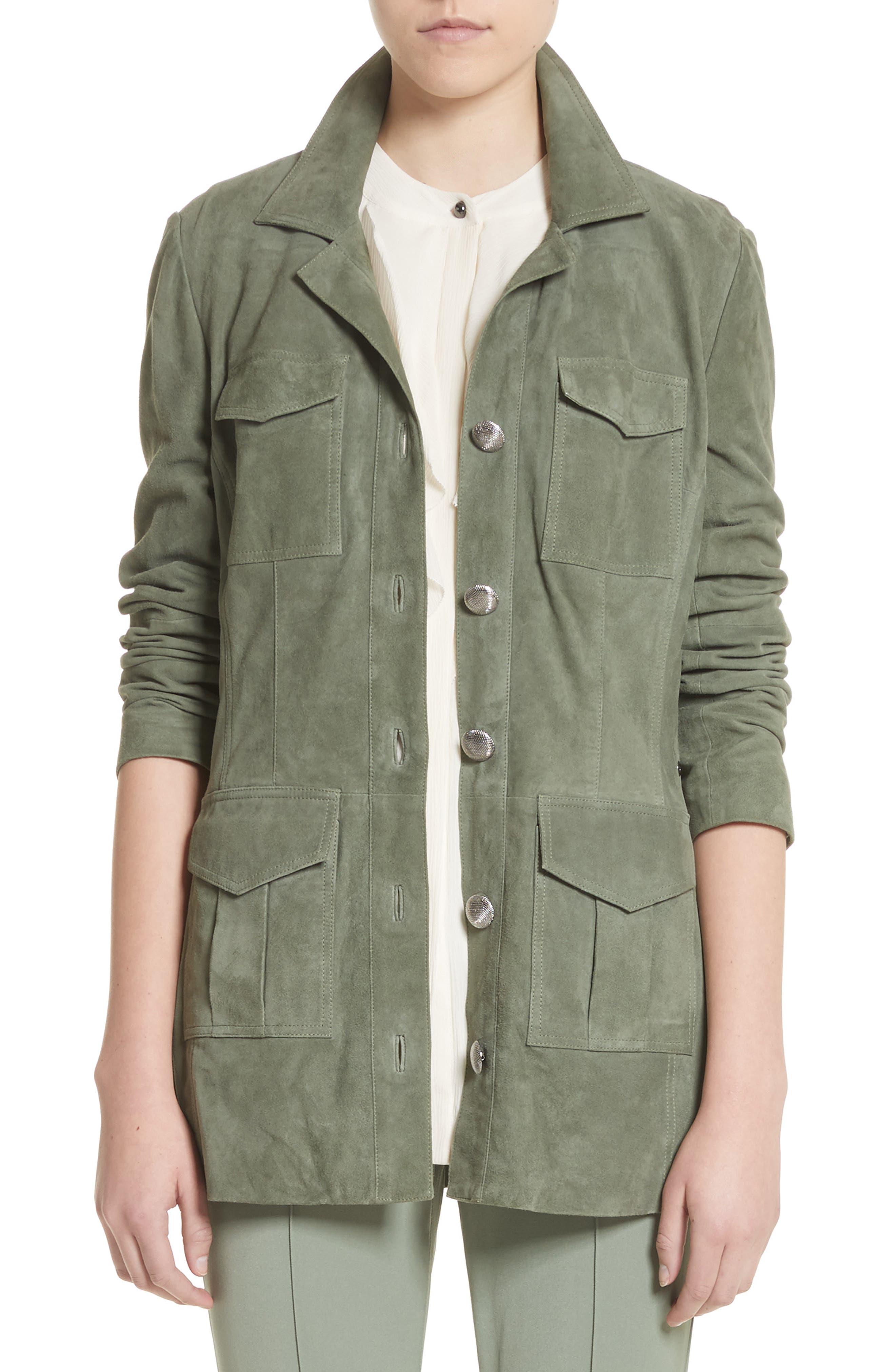 Suede Safari Jacket,                         Main,                         color, Dark Mint