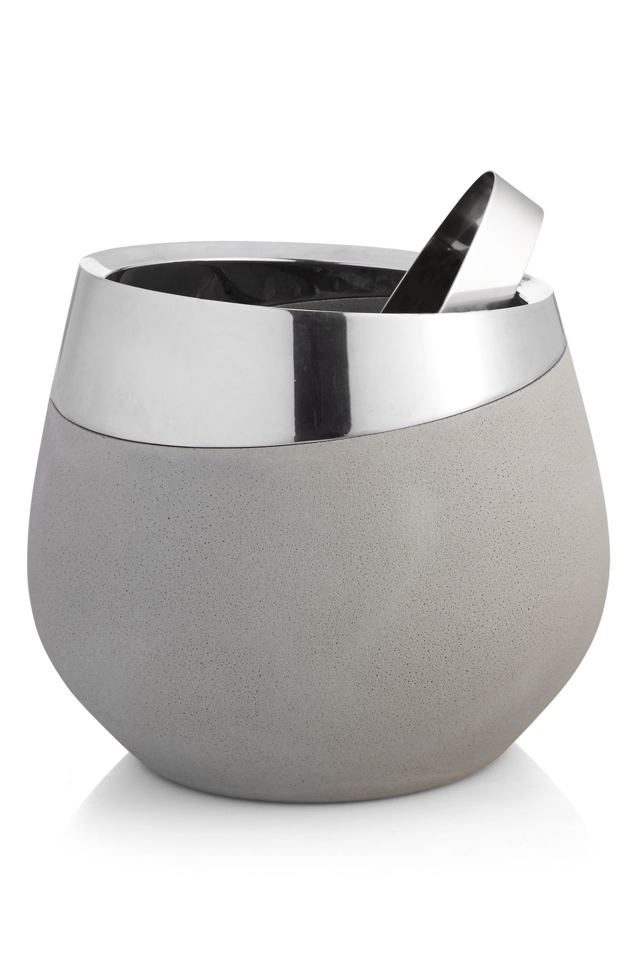 Forte Ice Bucket with Tongs,                         Main,                         color, Silver/ Grey