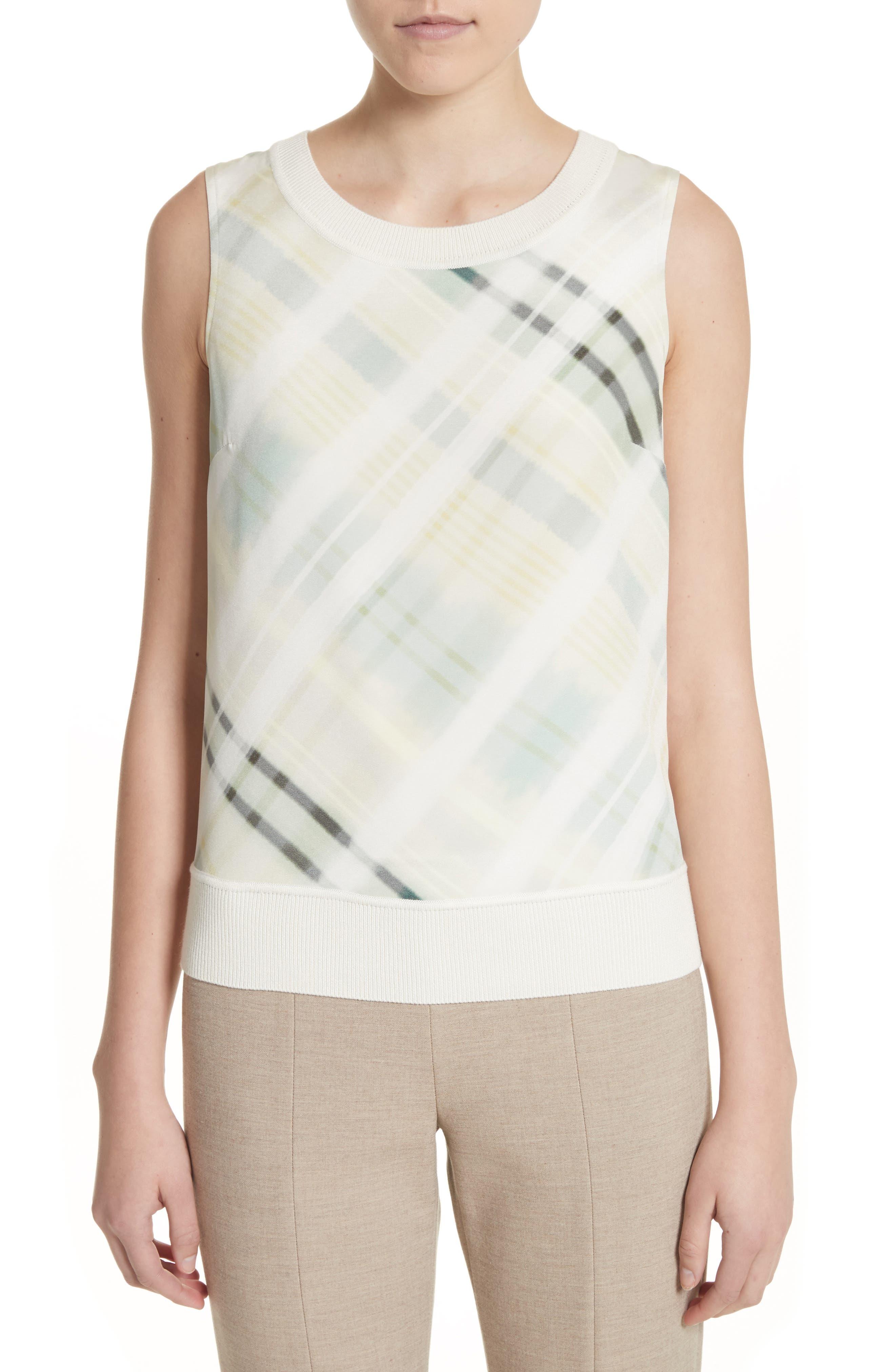 Plaid Knit Shell,                         Main,                         color, Vanilla Multi