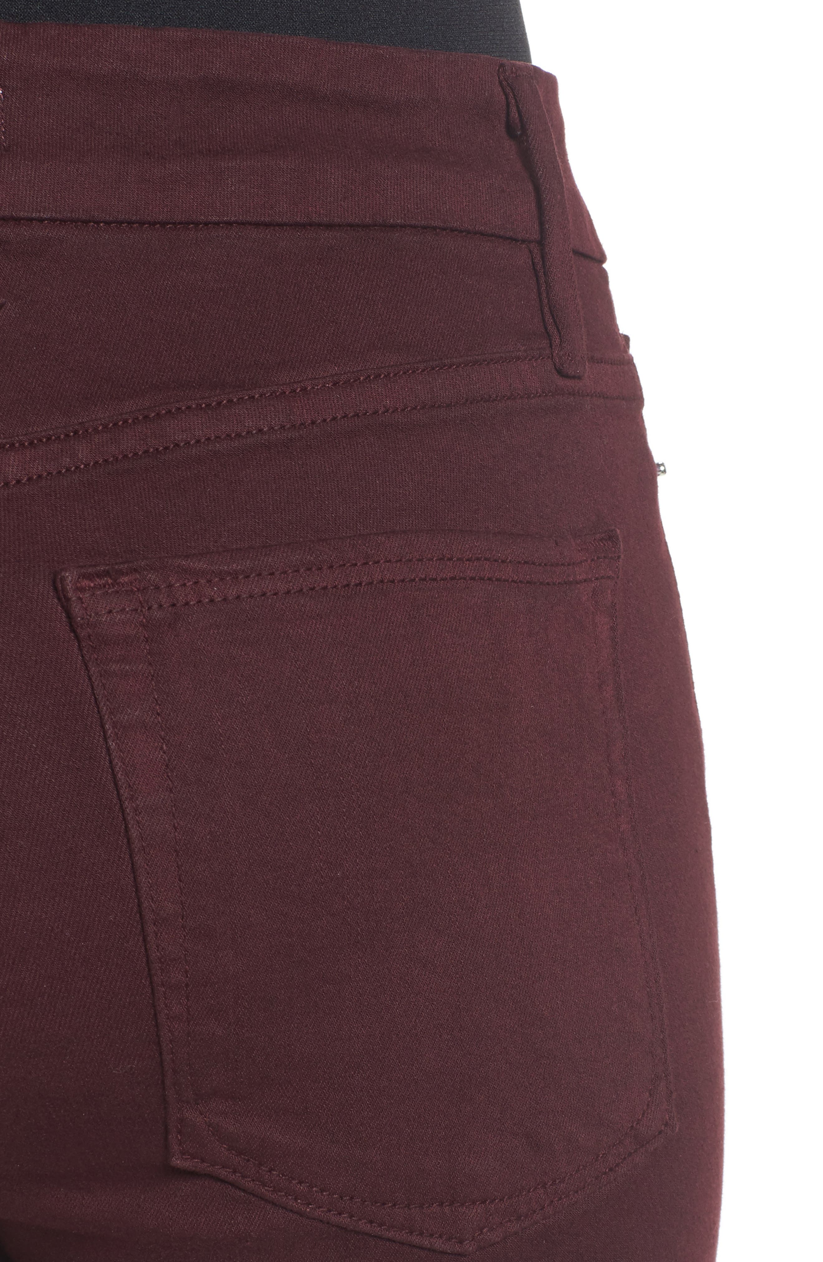Good Legs High Waist Skinny Jeans,                             Alternate thumbnail 4, color,                             Burgundy