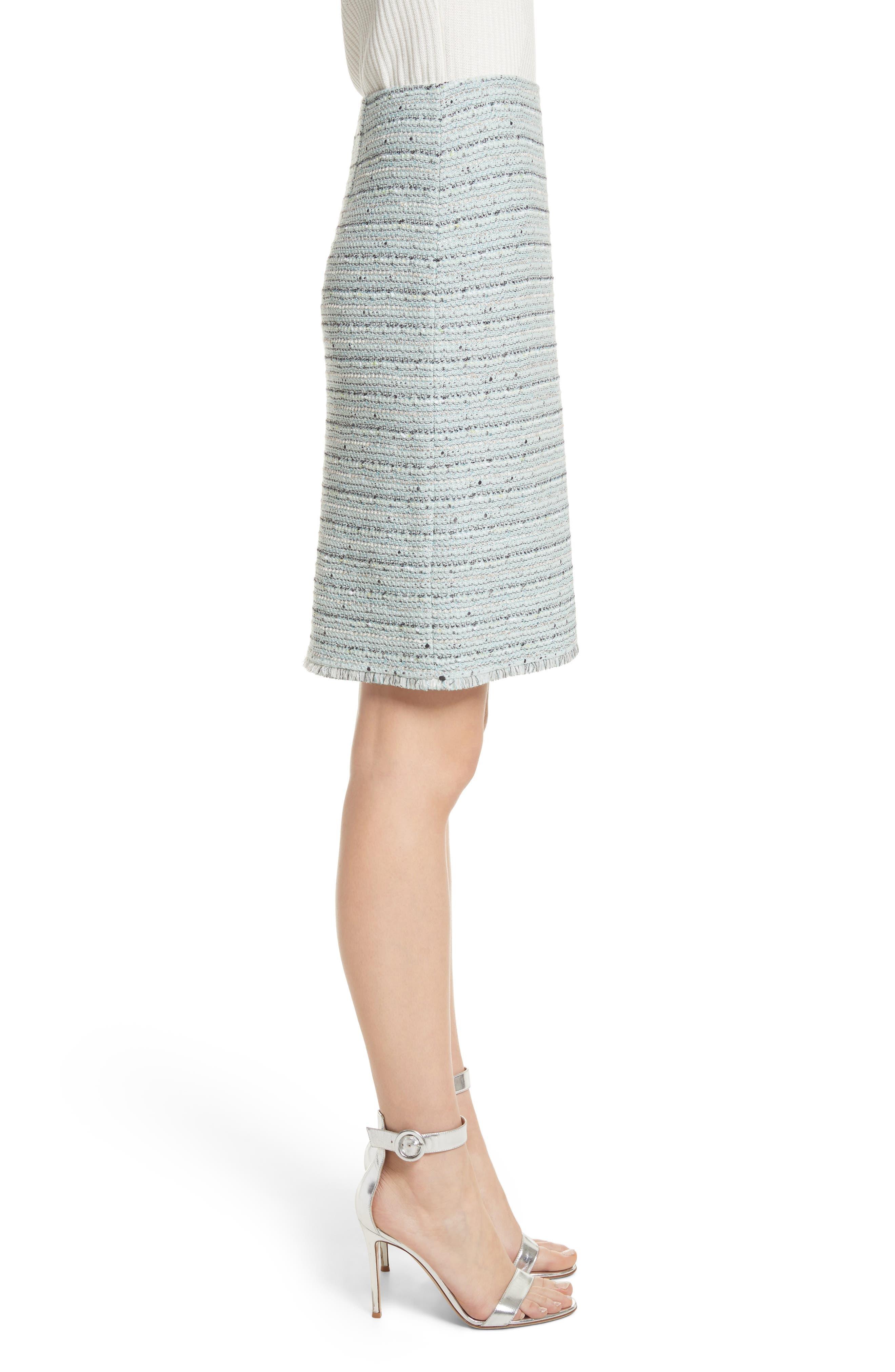 Riana Tweed Pencil Skirt,                             Alternate thumbnail 3, color,                             Mint Multi