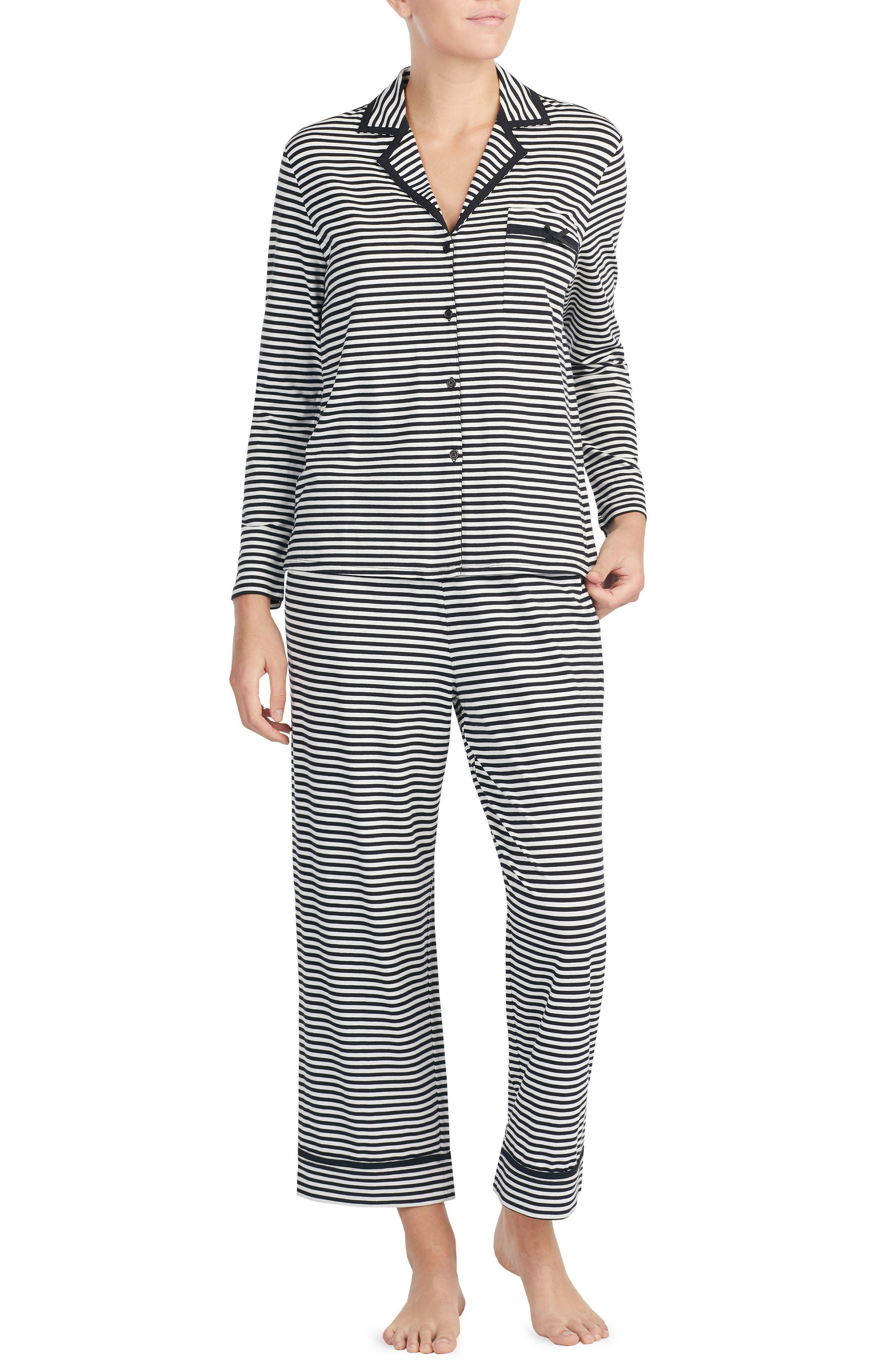 Main Image - kate spade new york stripe crop jersey pajamas