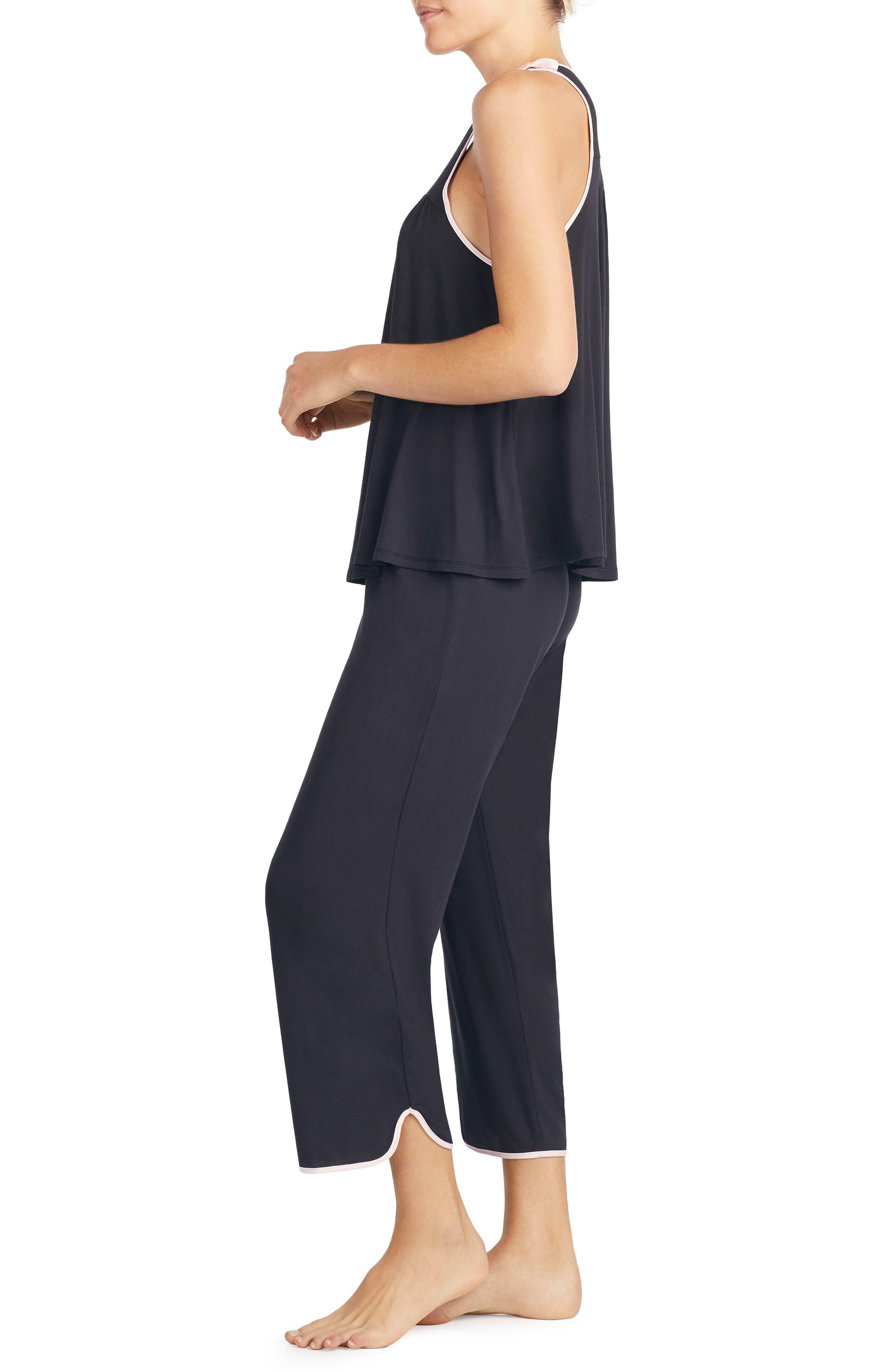 crop jersey pajamas,                             Alternate thumbnail 3, color,                             Black