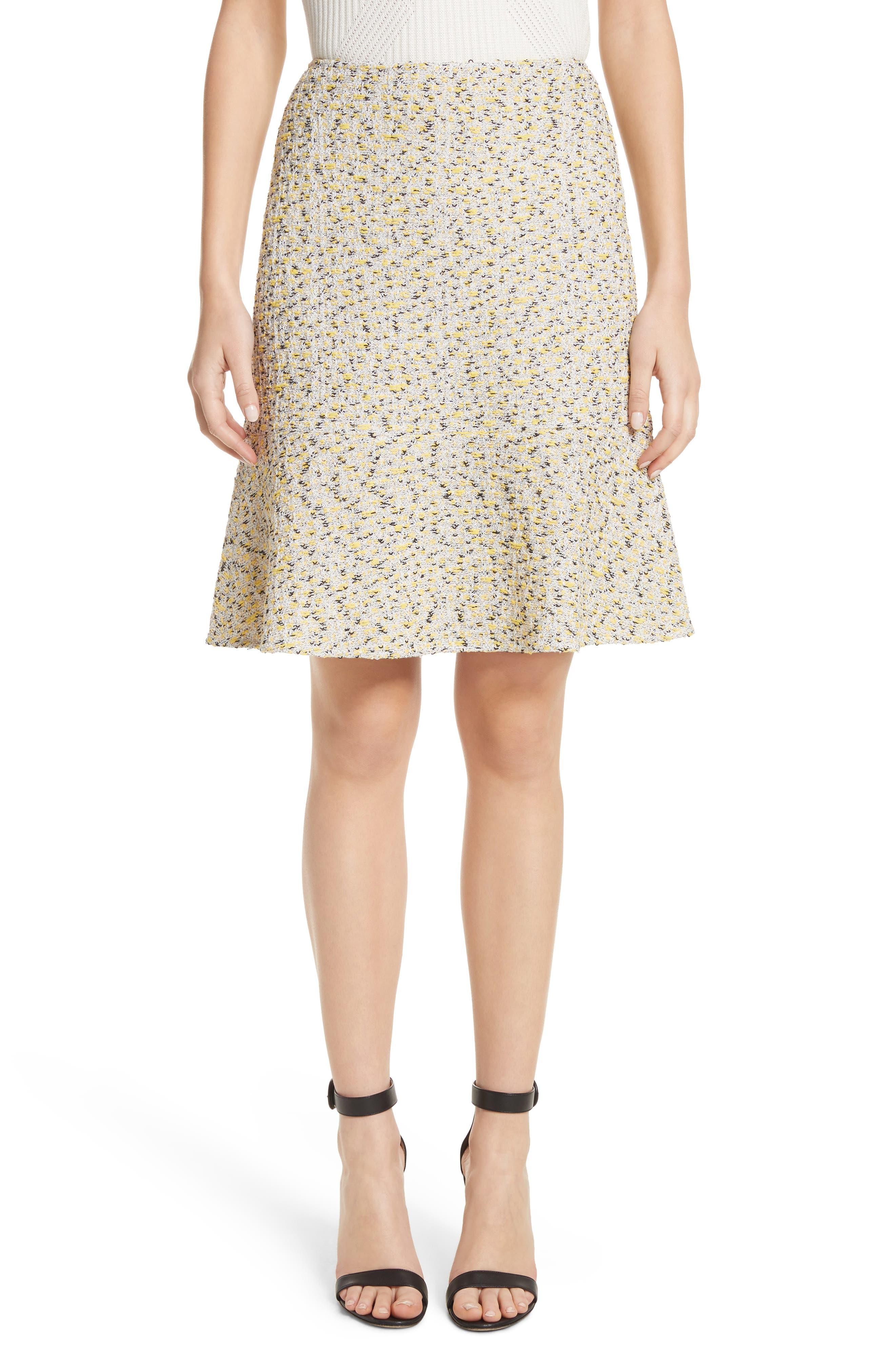 Romee Tweed Fit & Flare Skirt,                         Main,                         color, Citron Multi
