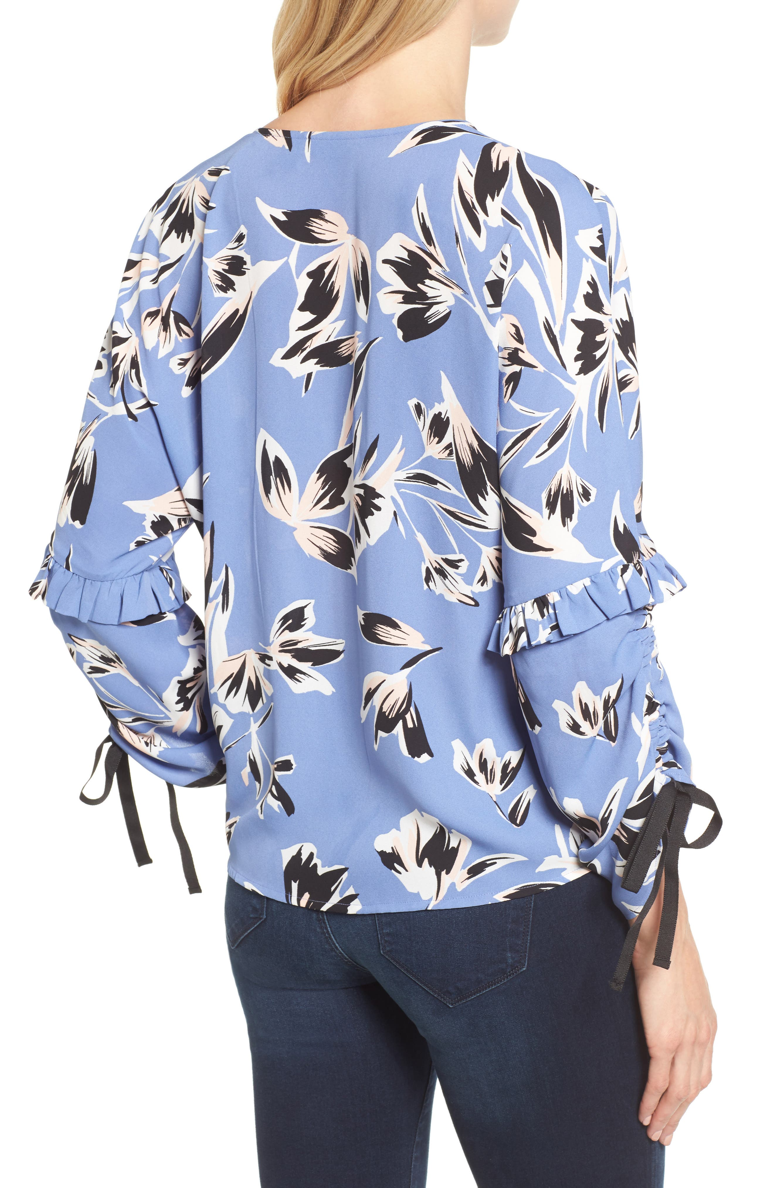 Ruched Tie Sleeve Top,                             Alternate thumbnail 2, color,                             Blue- Pink Sketch Floral