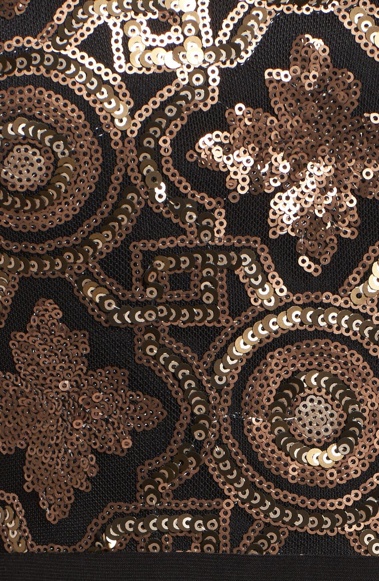 Sequin Cutout Bodice Gown,                             Alternate thumbnail 2, color,                             Black/ Gold
