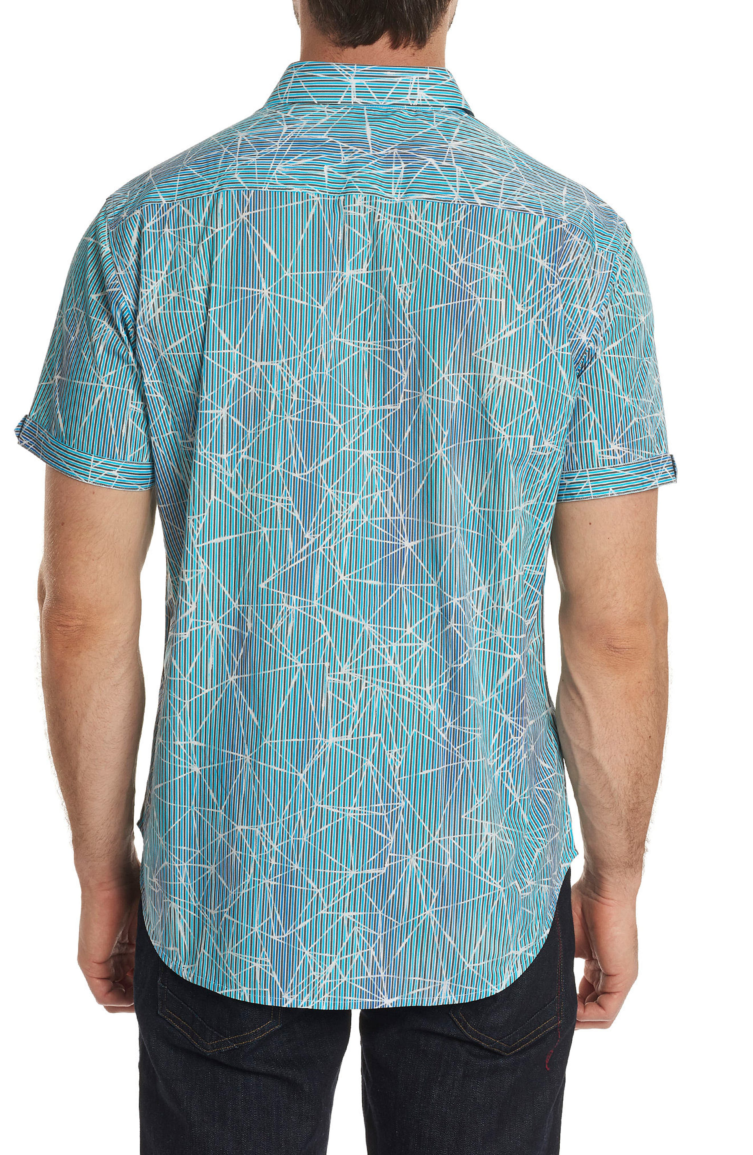 Illusions Print Sport Shirt,                             Alternate thumbnail 2, color,                             Turquoise