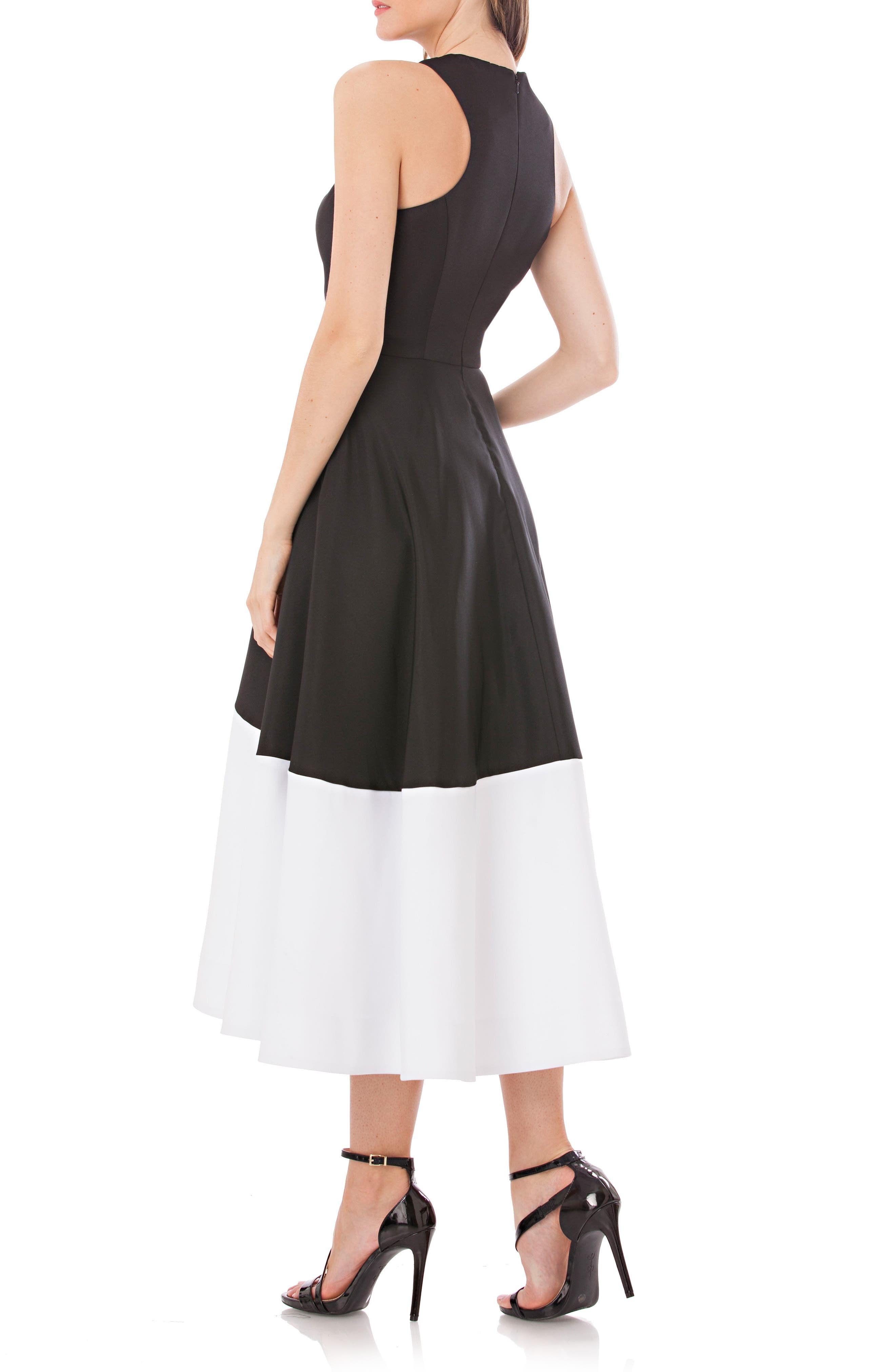 Colorblock A-Line Dress,                             Alternate thumbnail 2, color,                             Black/ White
