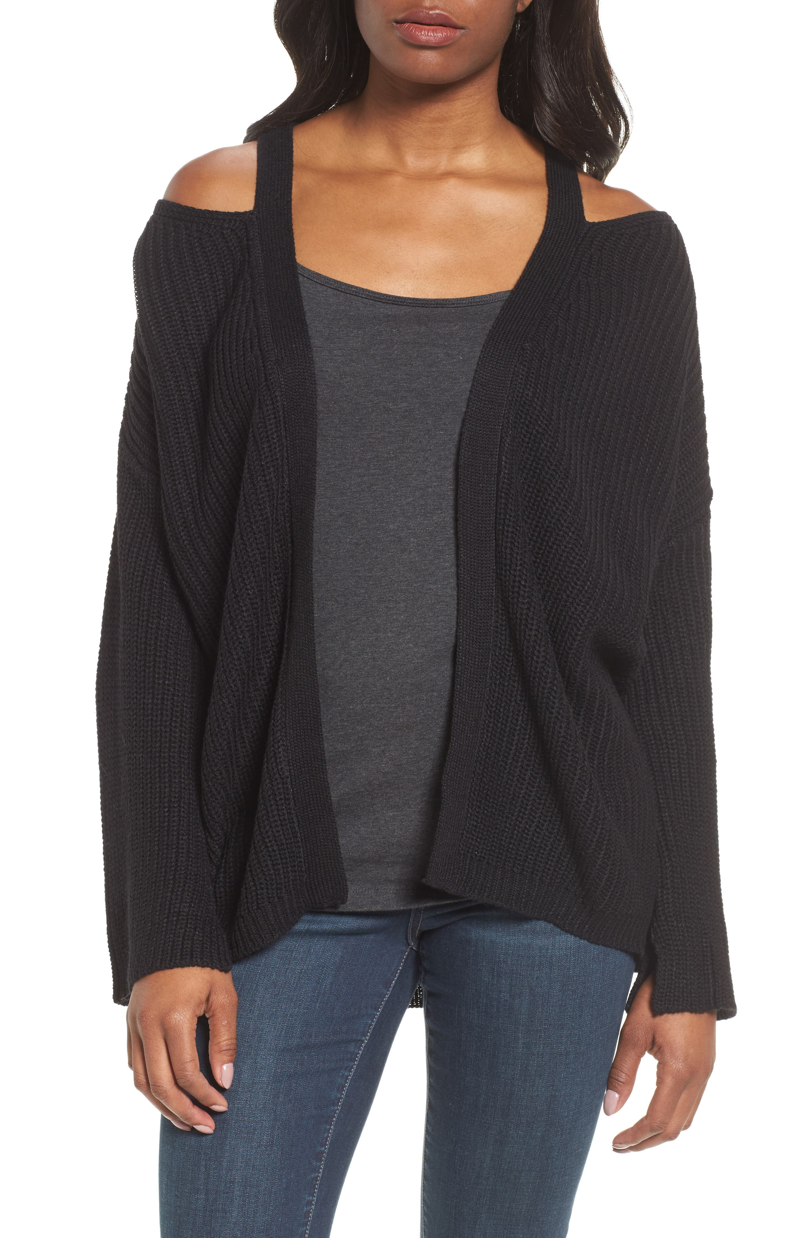 Cutout Cardigan,                             Main thumbnail 1, color,                             Black