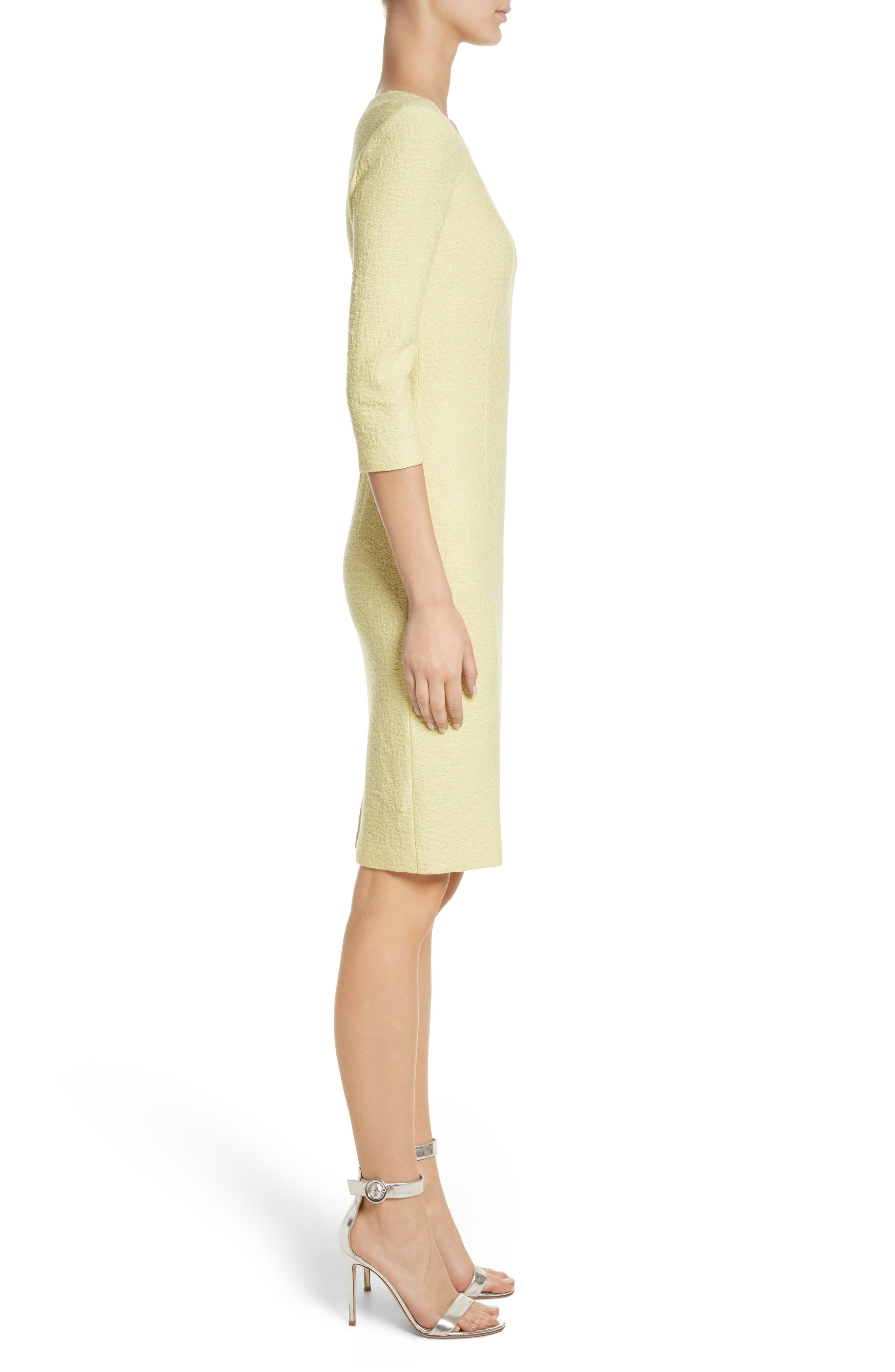 Hannah Knit Asymmetrical Sheath Dress,                             Alternate thumbnail 3, color,                             Citron