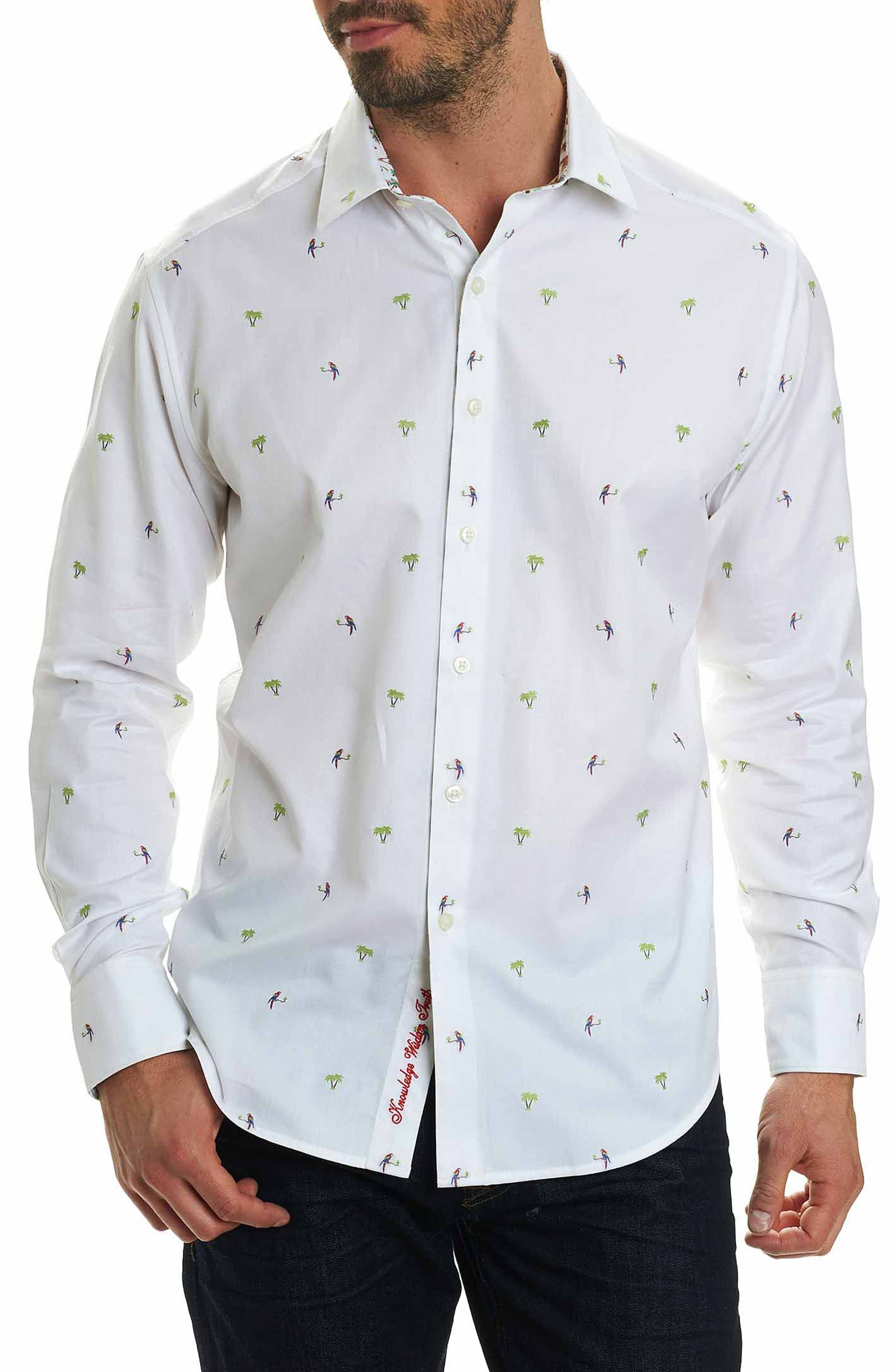 Palm Leaves Classic Fit Sport Shirt,                         Main,                         color, White