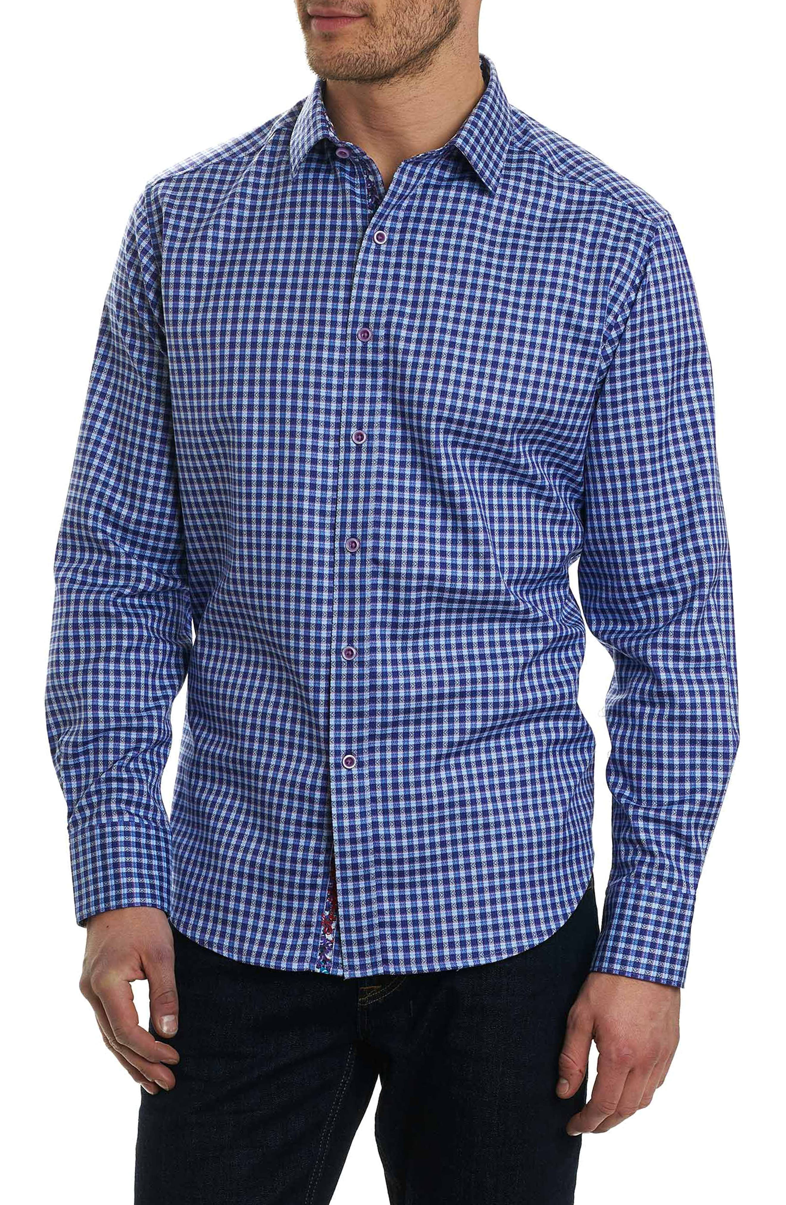 Matira Classic Fit Check Sport Shirt,                         Main,                         color, Purple