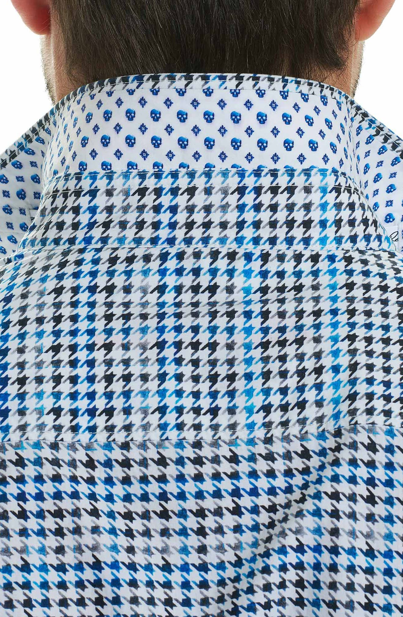 Rolf Classic Fit Houndstooth Print Sport Shirt,                             Alternate thumbnail 3, color,                             White
