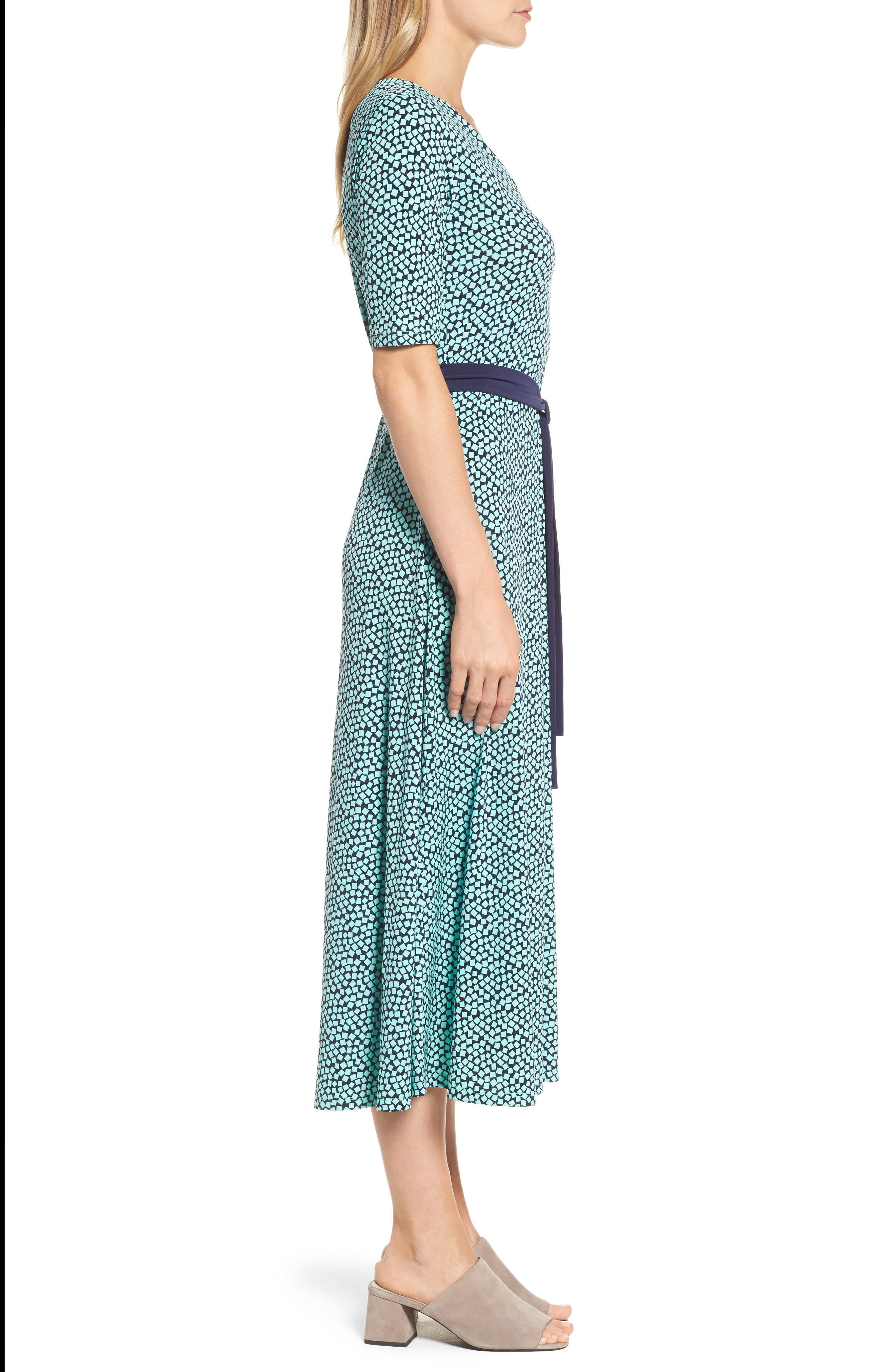 Belted Cube Print Midi Dress,                             Alternate thumbnail 3, color,                             Sea Glass