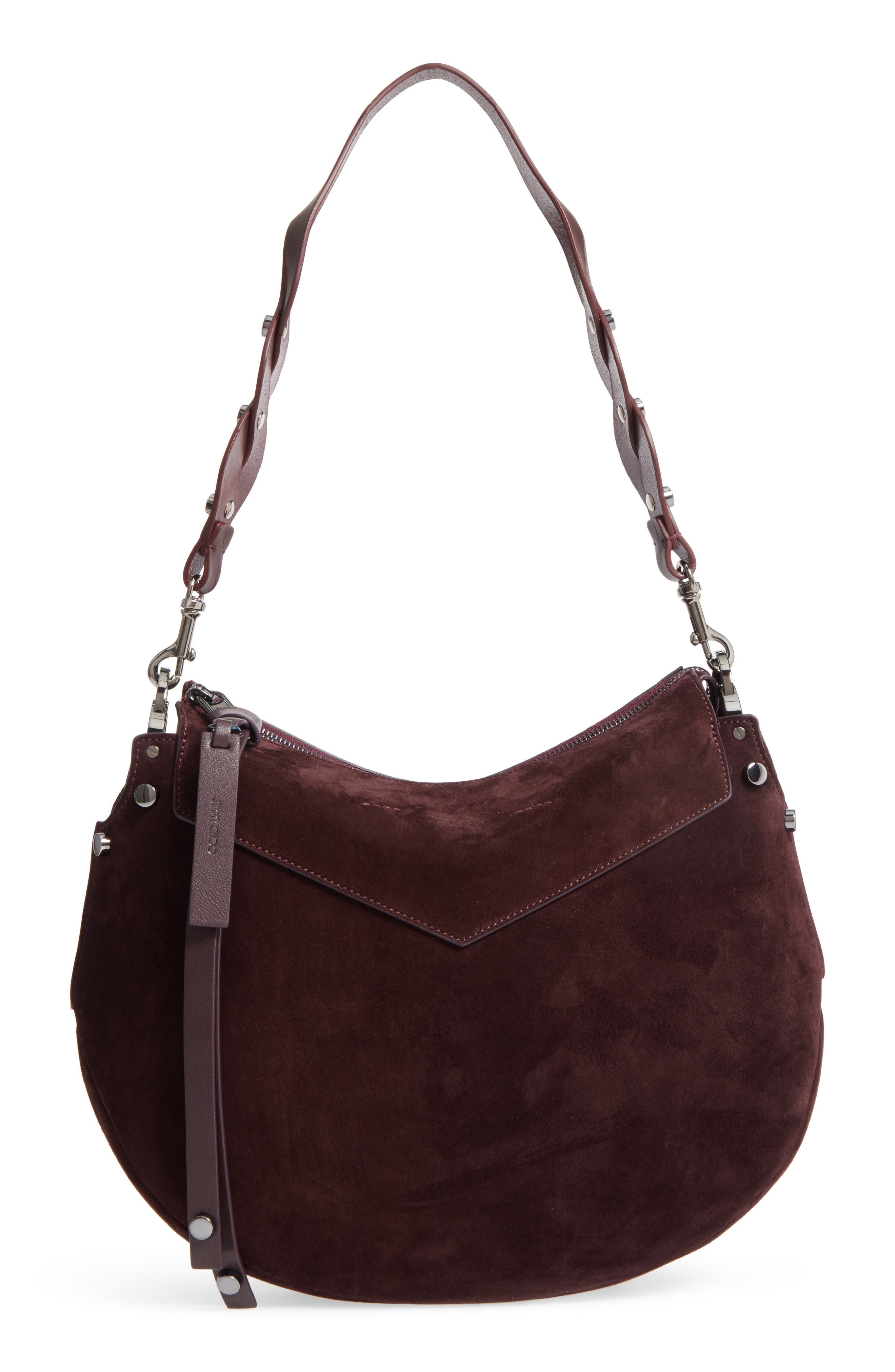 Artie Suede Hobo Bag,                             Main thumbnail 1, color,                             Burgundy