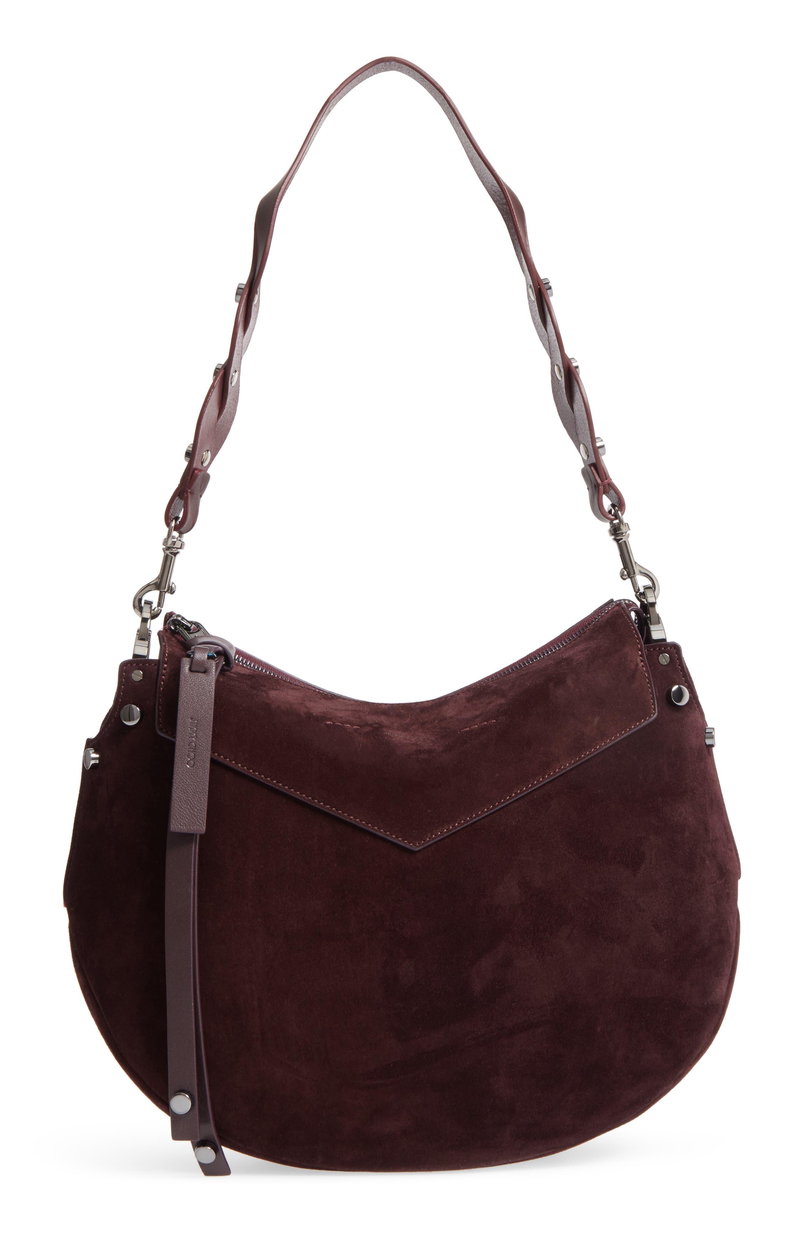 Artie Suede Hobo Bag,                         Main,                         color, Burgundy