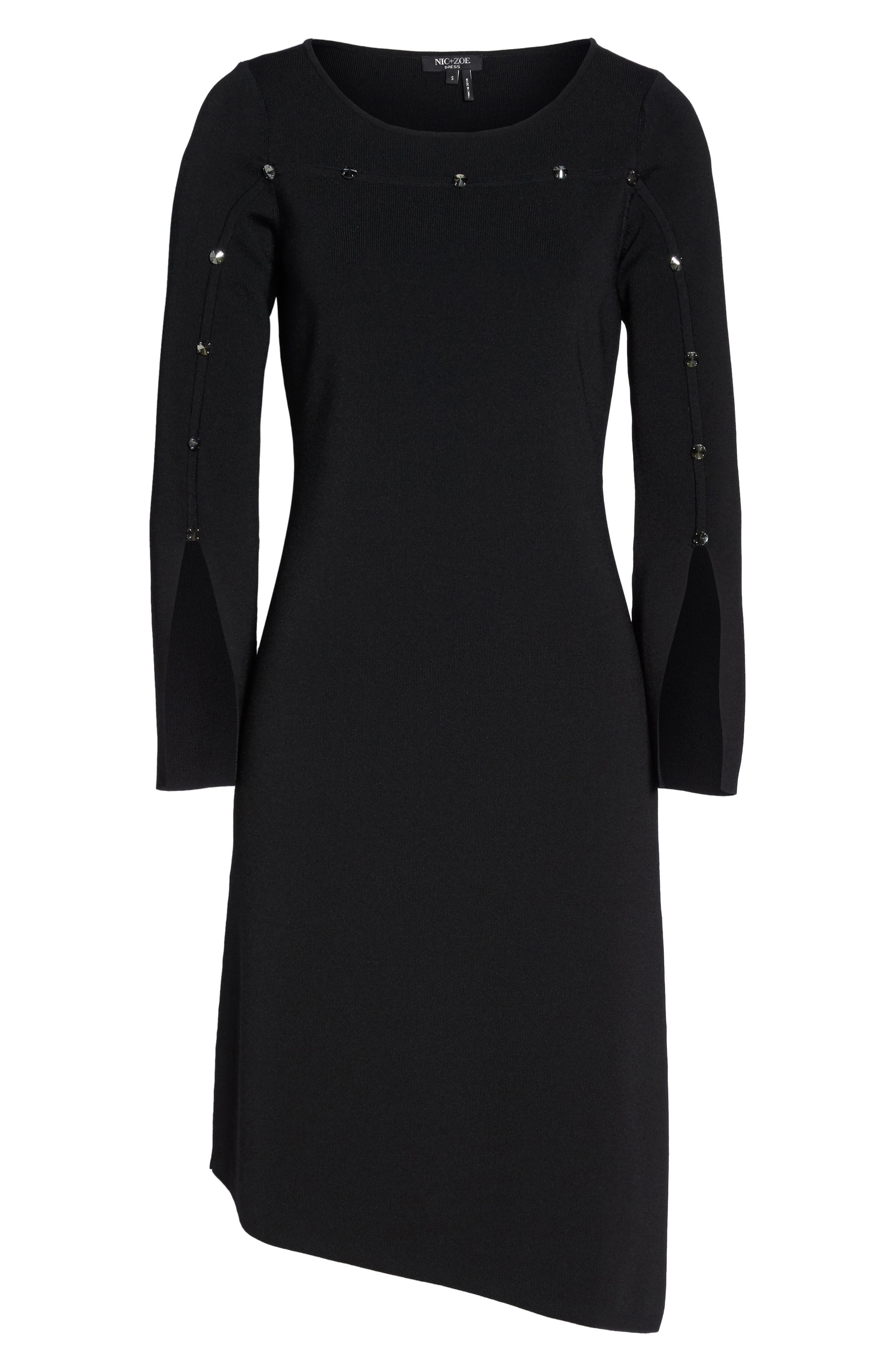 Studded Asymmetrical Dress,                             Alternate thumbnail 6, color,                             Black Onyx