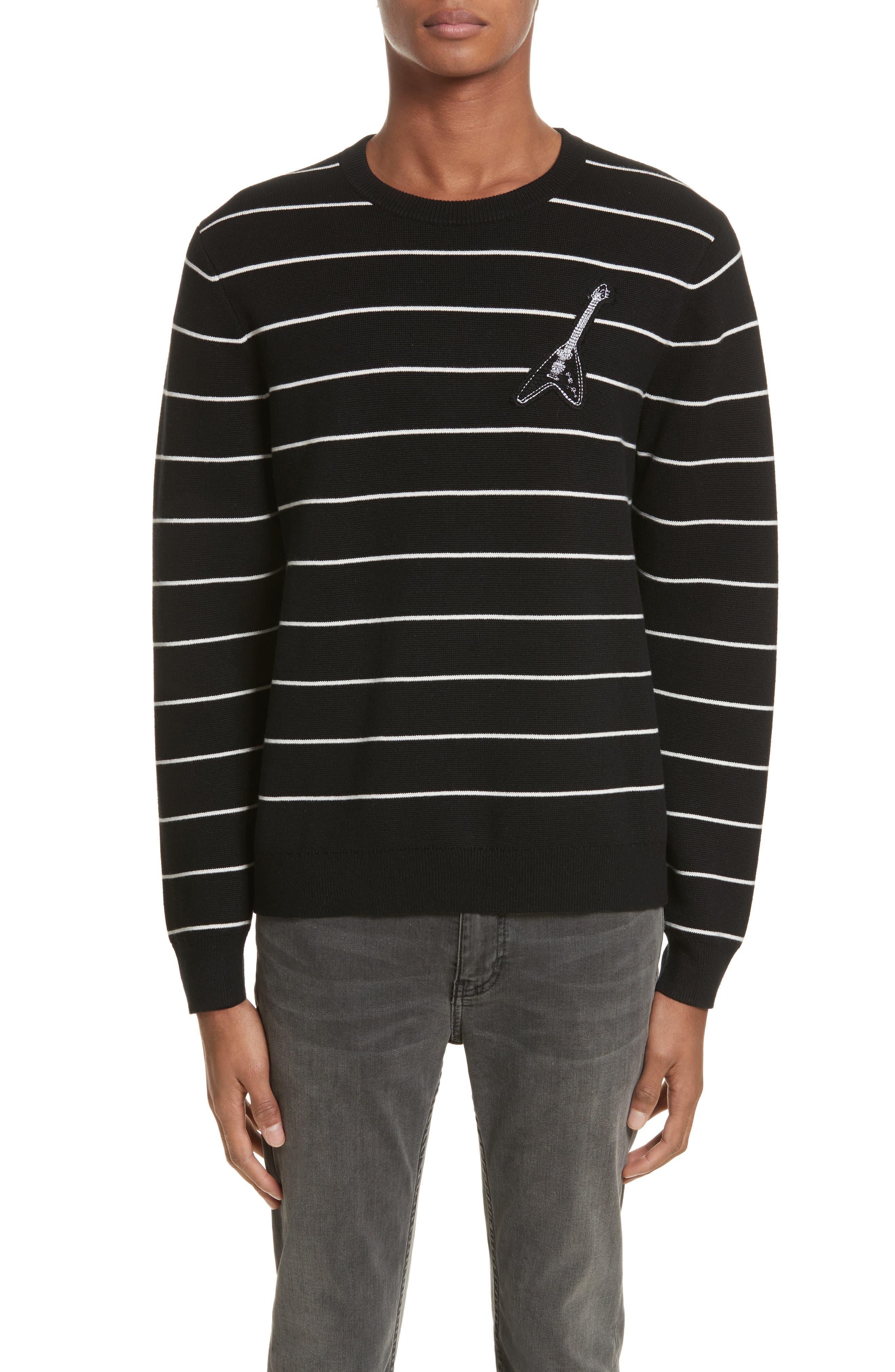 Stripe Cotton Blend Sweater,                             Main thumbnail 1, color,                             Black