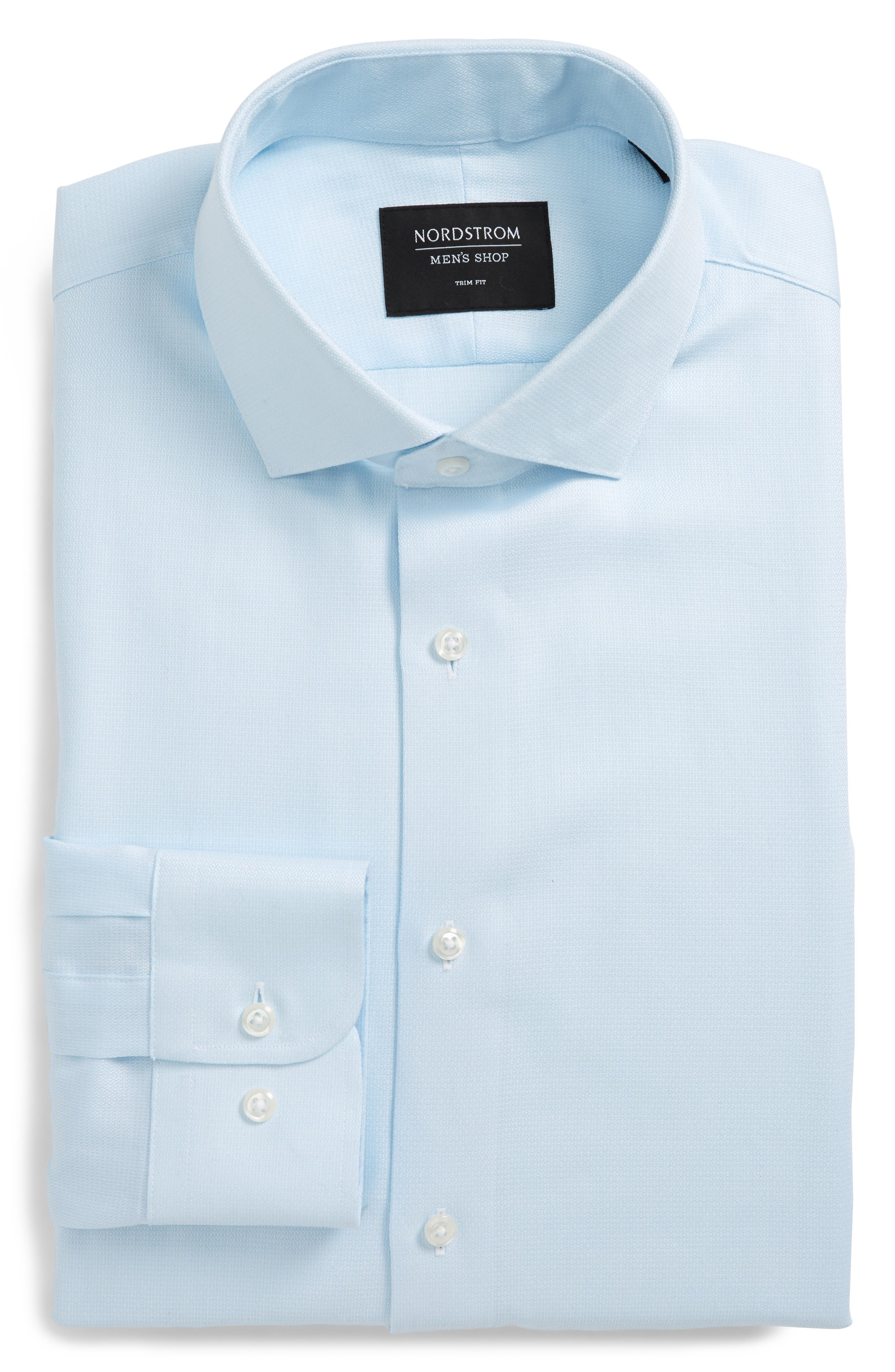 Trim Fit Solid Dress Shirt,                             Main thumbnail 1, color,                             Blue Orydalis