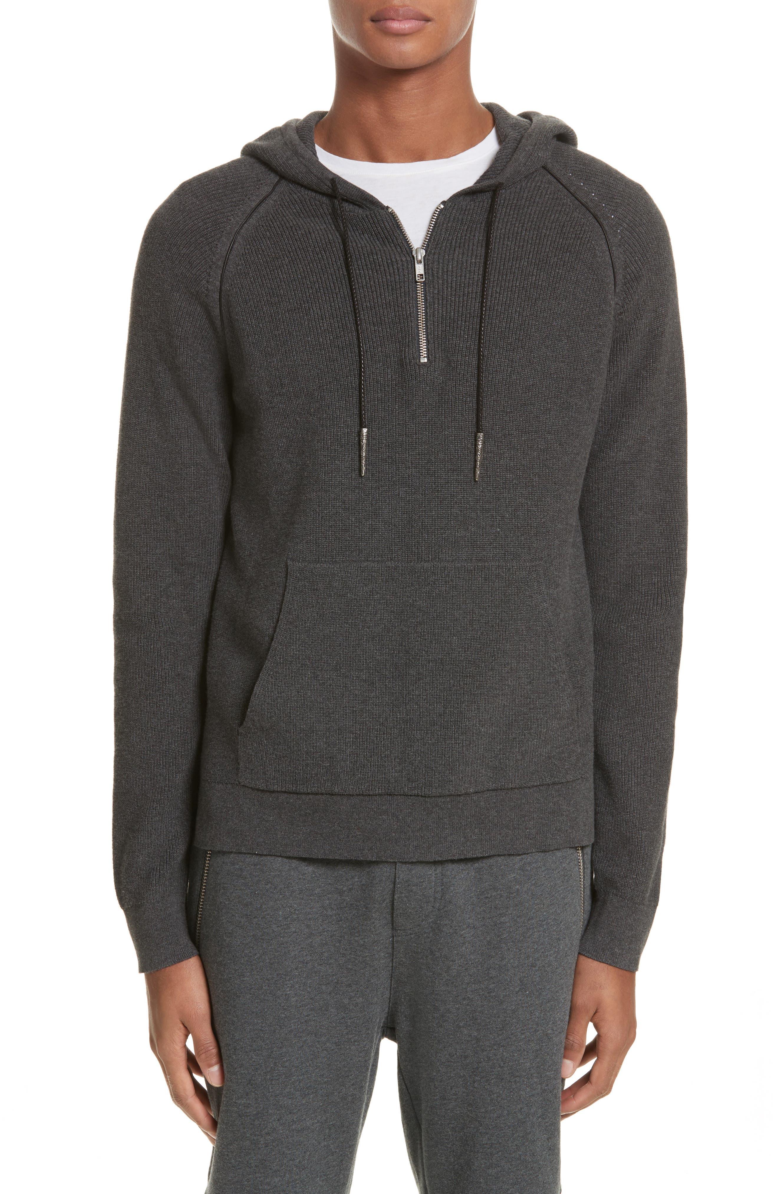 Quarter Zip Hoodie,                         Main,                         color, Grey