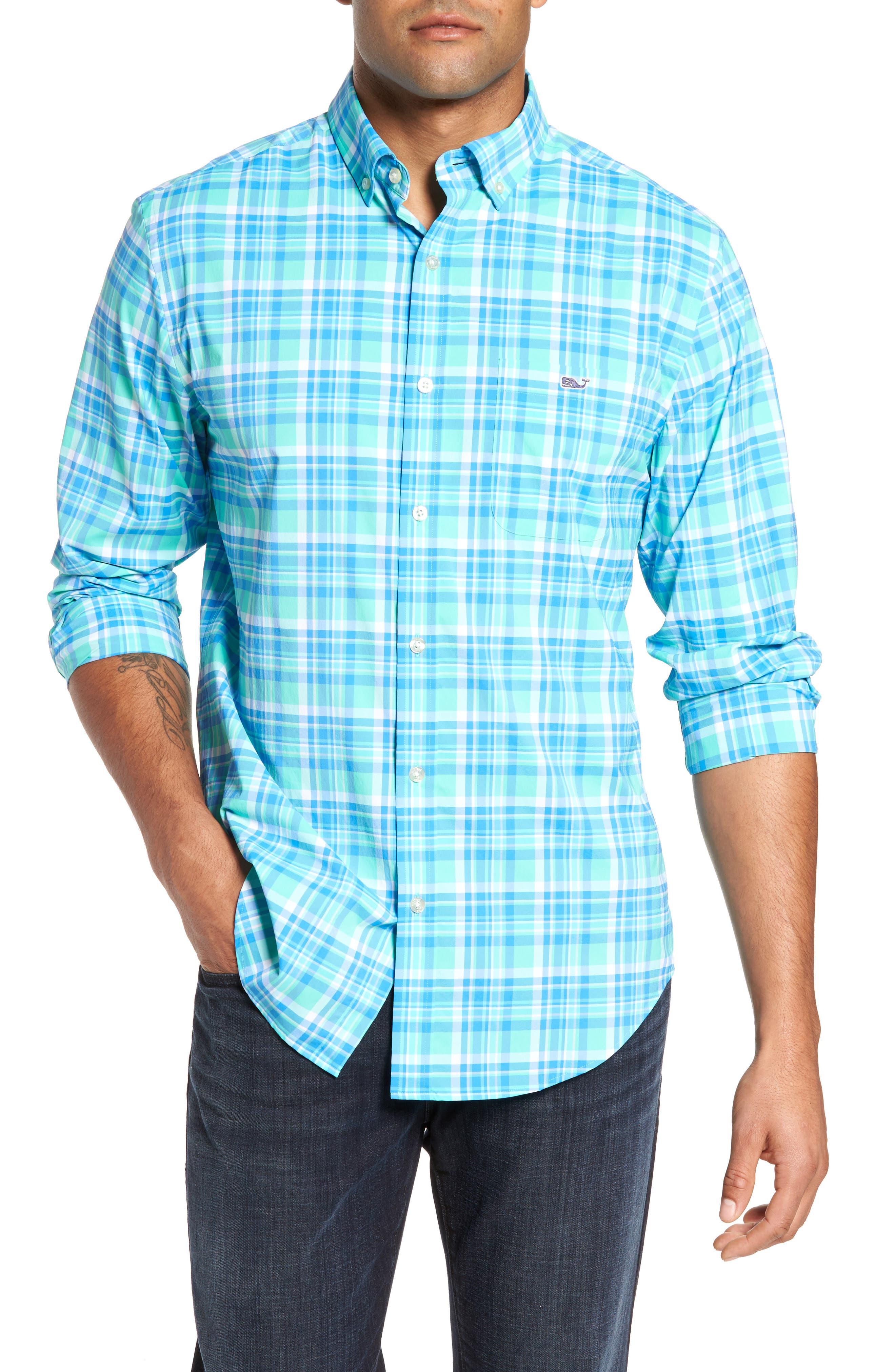 Sandspar Tucker Classic Fit Plaid Sport Shirt,                         Main,                         color, Antigua Green