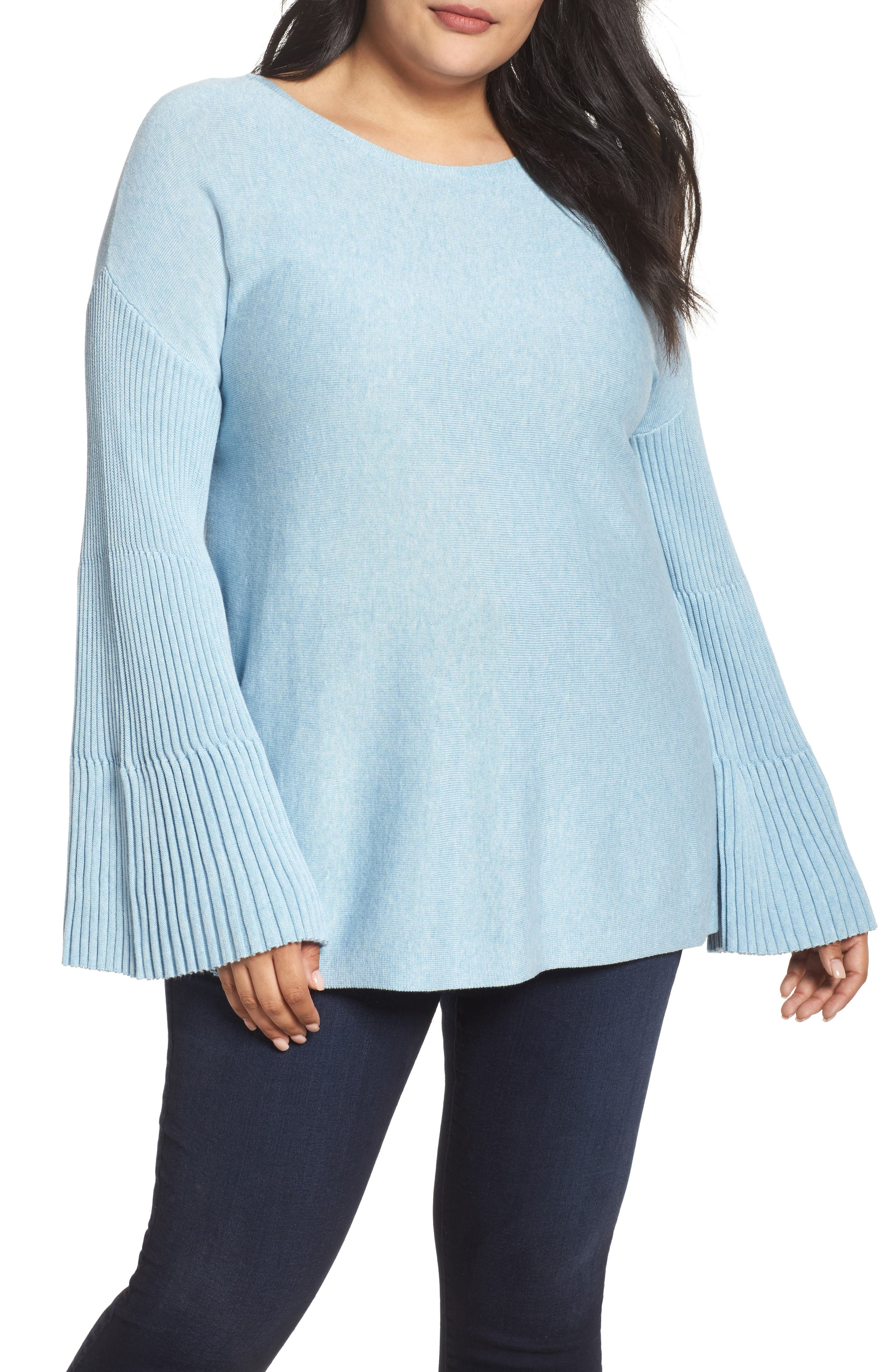 Ribbed Bell Sleeve Sweater,                         Main,                         color, Light Cameo Blue
