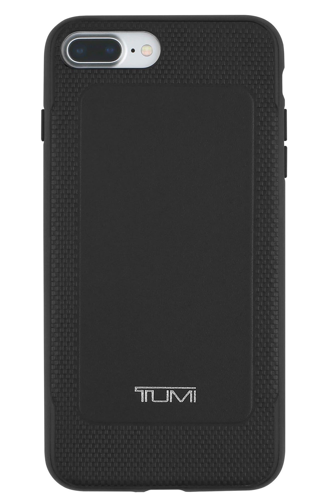 Leather iPhone 8 Plus Case,                             Main thumbnail 1, color,                             Black Leather