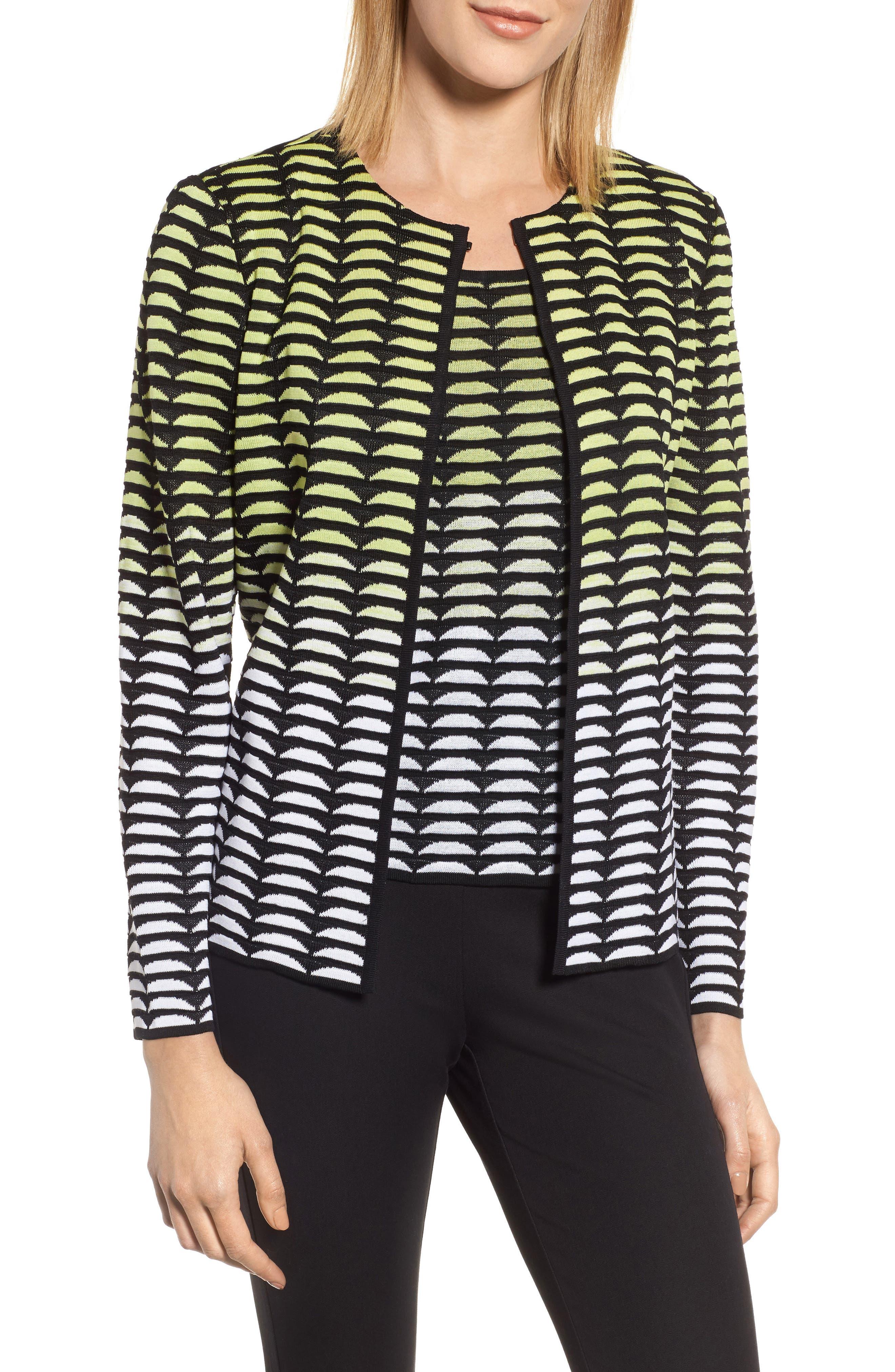 Ombré Jacquard Knit Jacket,                         Main,                         color, Aurora/ Black/ White