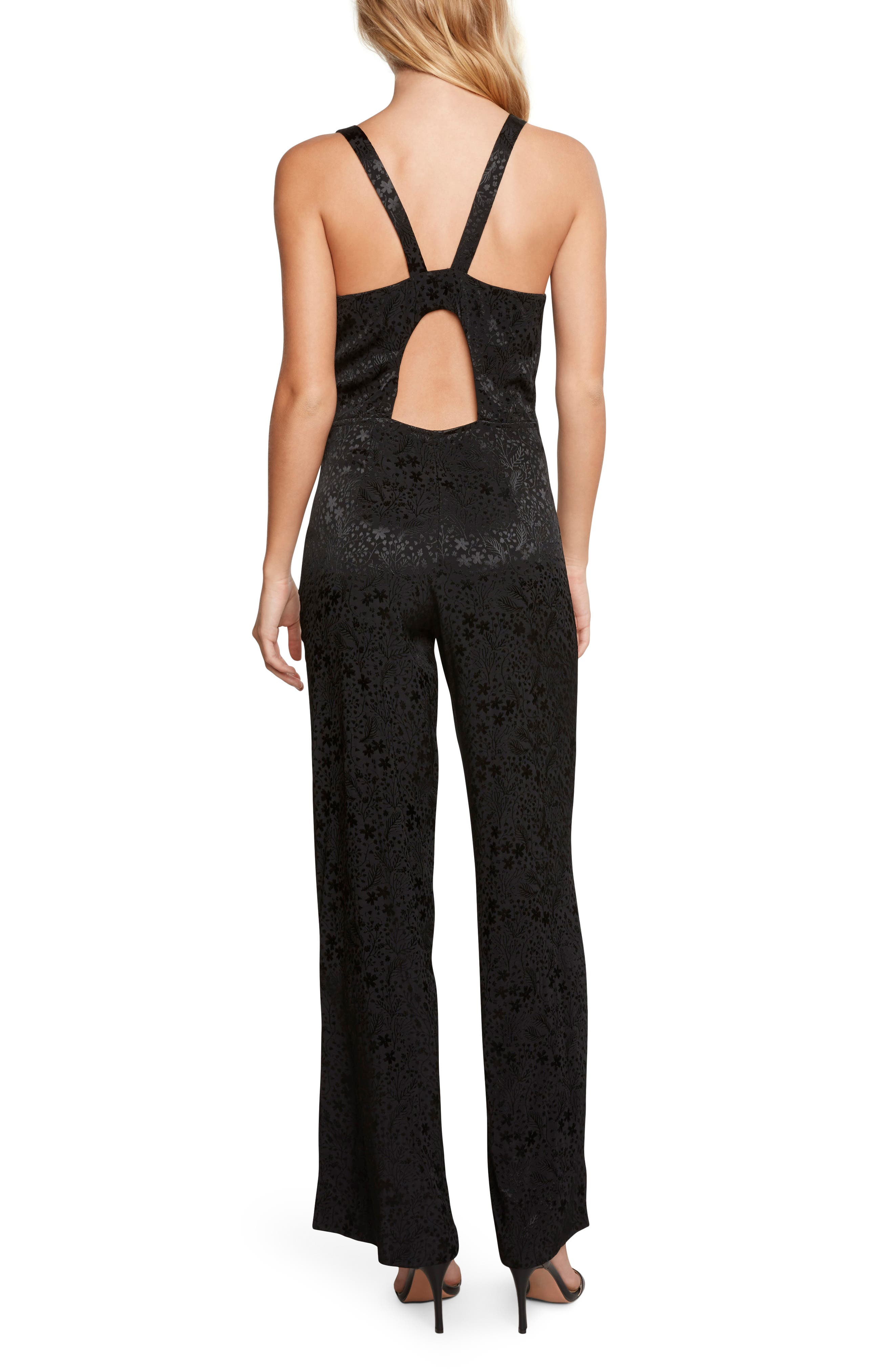 Jacquard Jumpsuit,                             Alternate thumbnail 2, color,                             Black