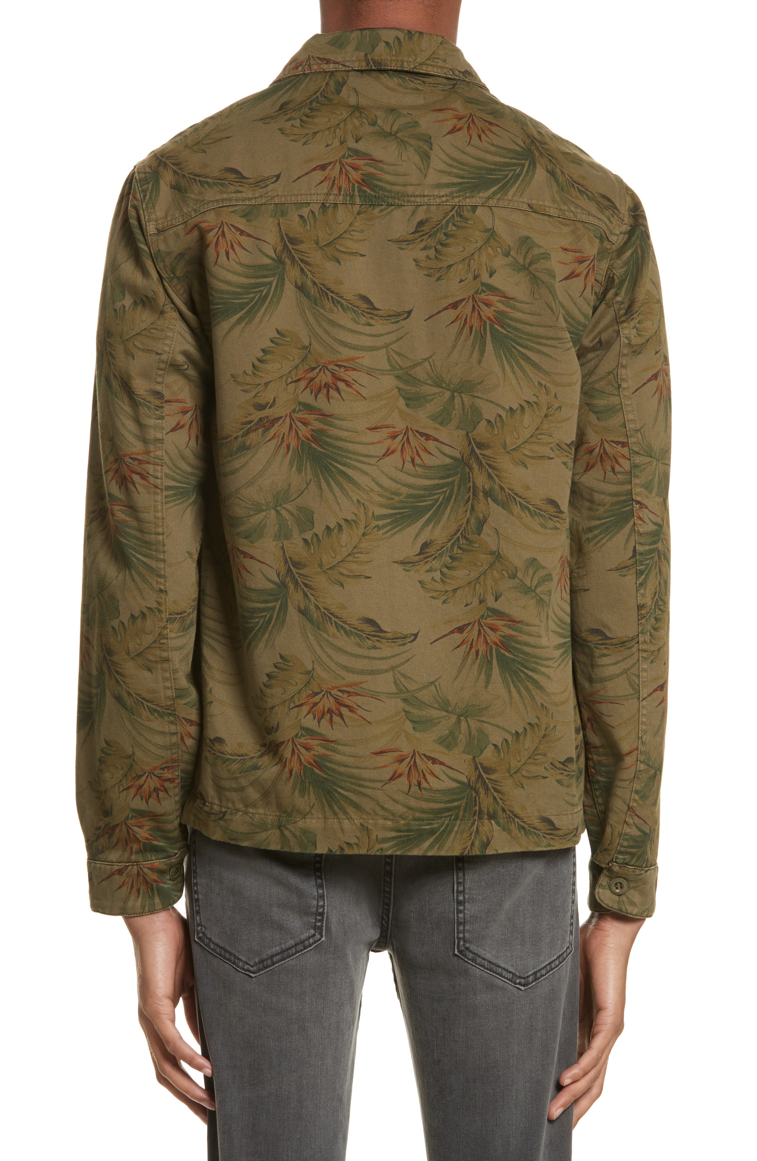 Flower Denim Jacket,                             Alternate thumbnail 2, color,                             Khaki