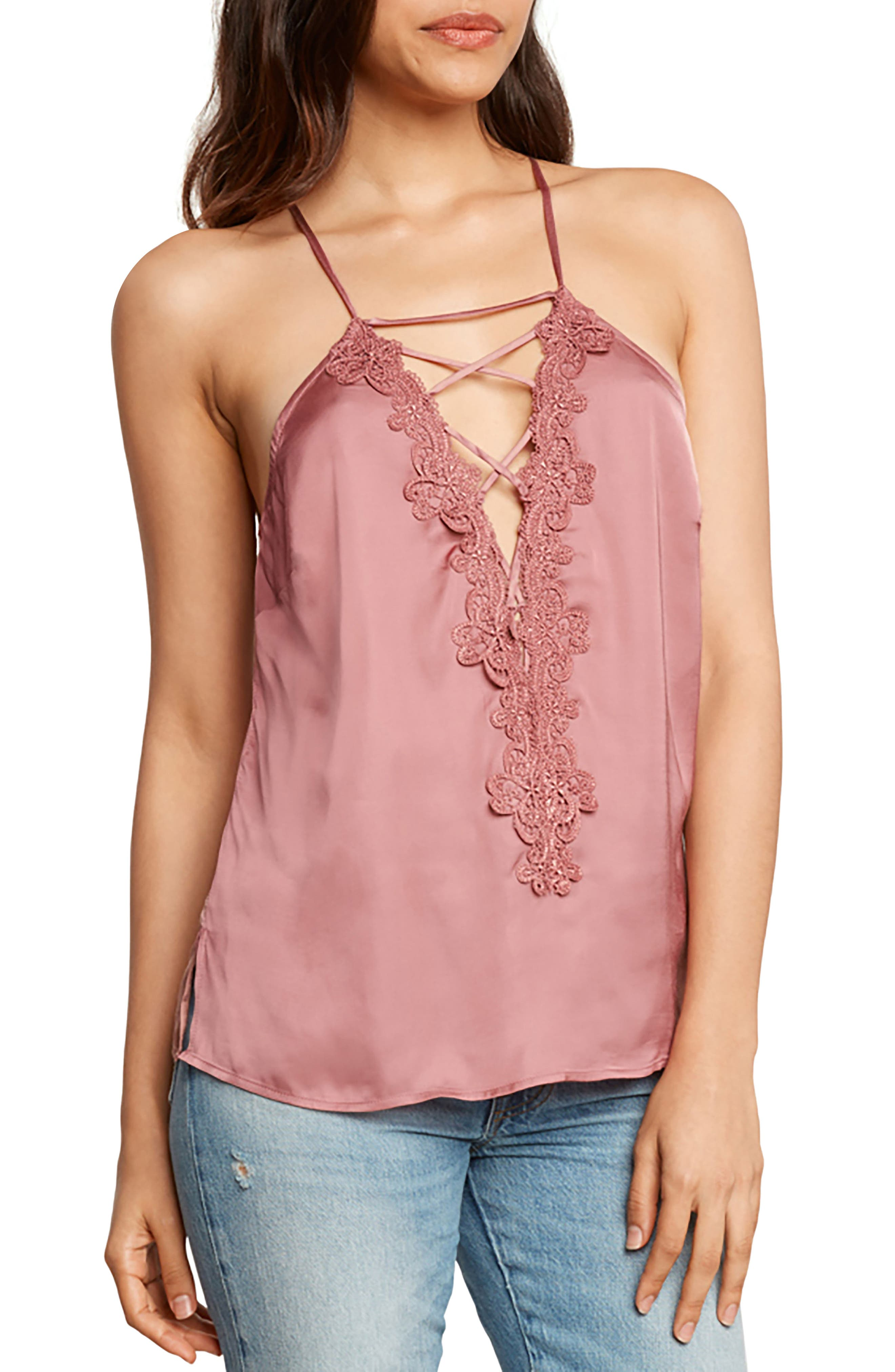 Willow & Clay Lace-Up Satin Camisole