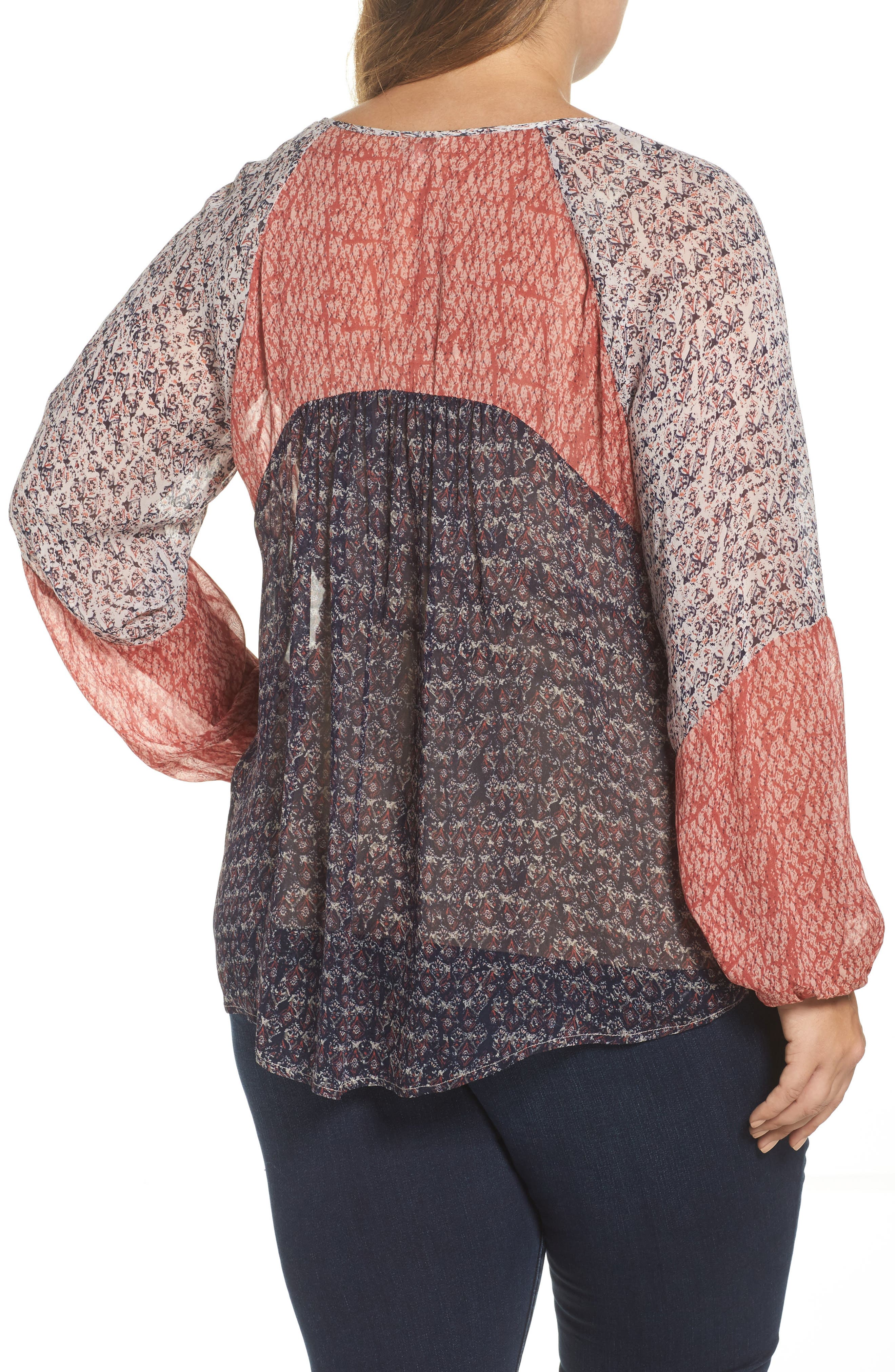 Alternate Image 2  - Lucky Brand Mix Print Peasant Top (Plus Size)