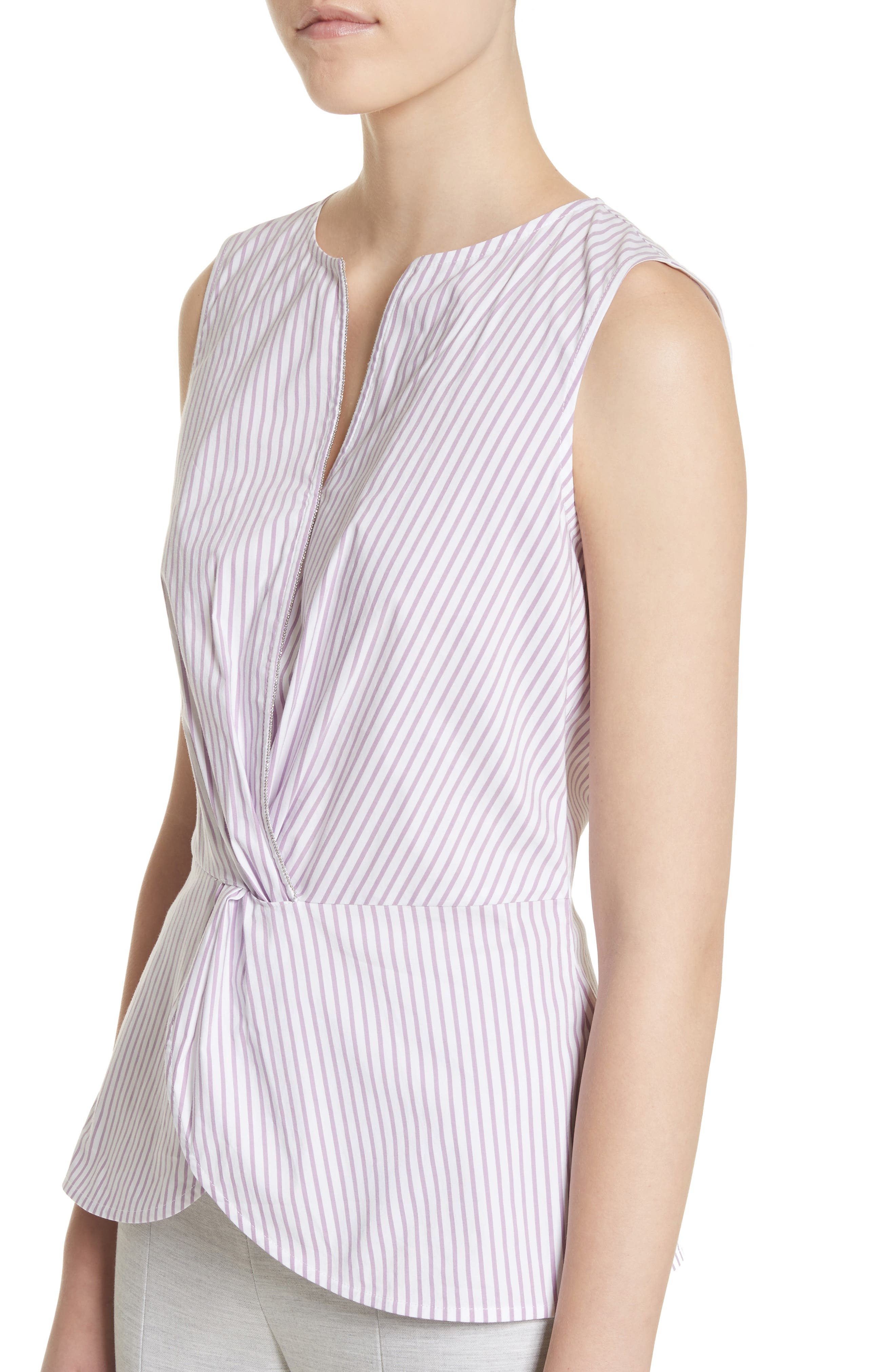 Pinstripe Twist Front Top,                             Alternate thumbnail 4, color,                             Orchid/ Bianco