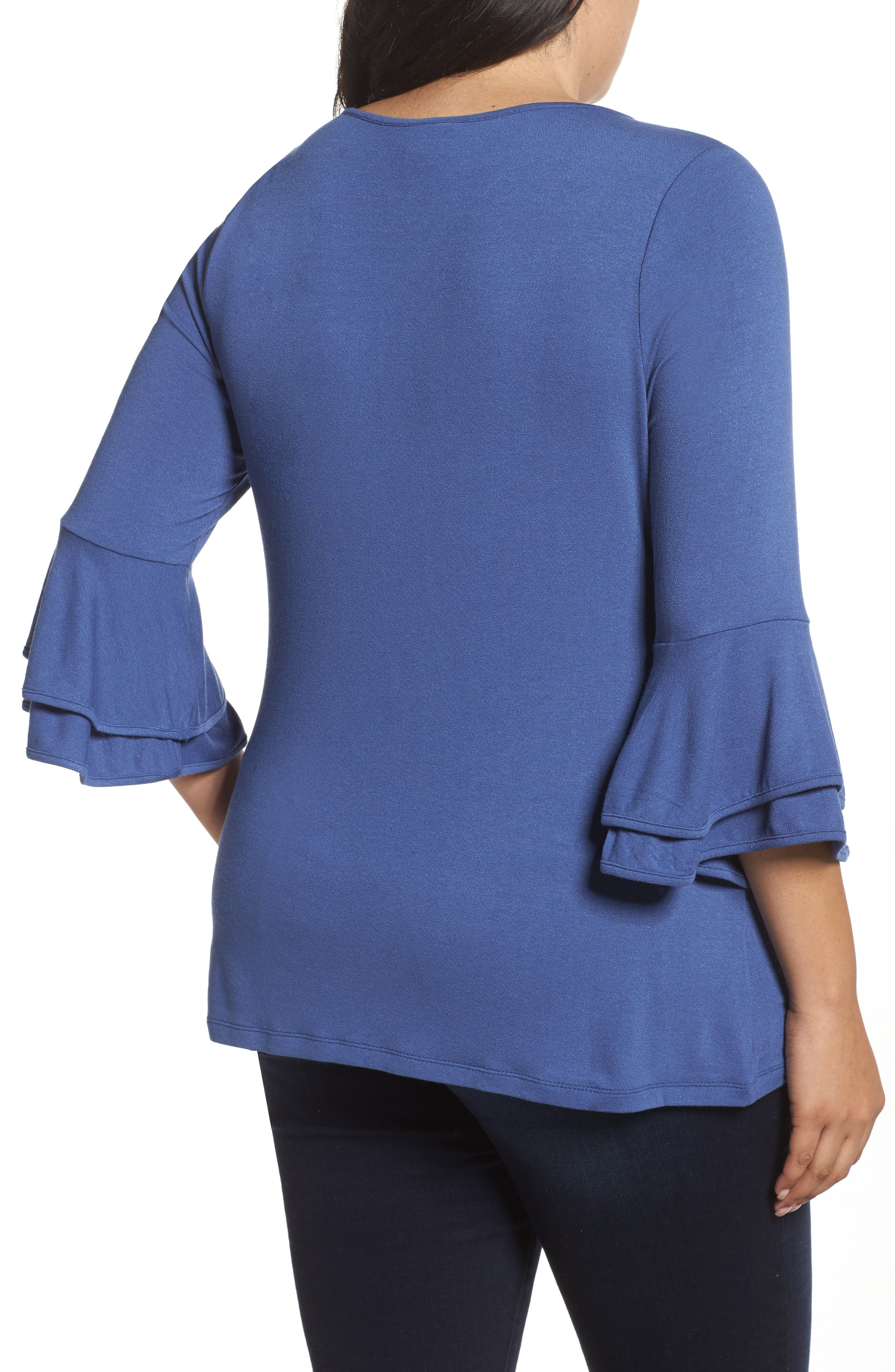 Alternate Image 2  - Bobeau Double Ruffle Sleeve Top (Plus Size)