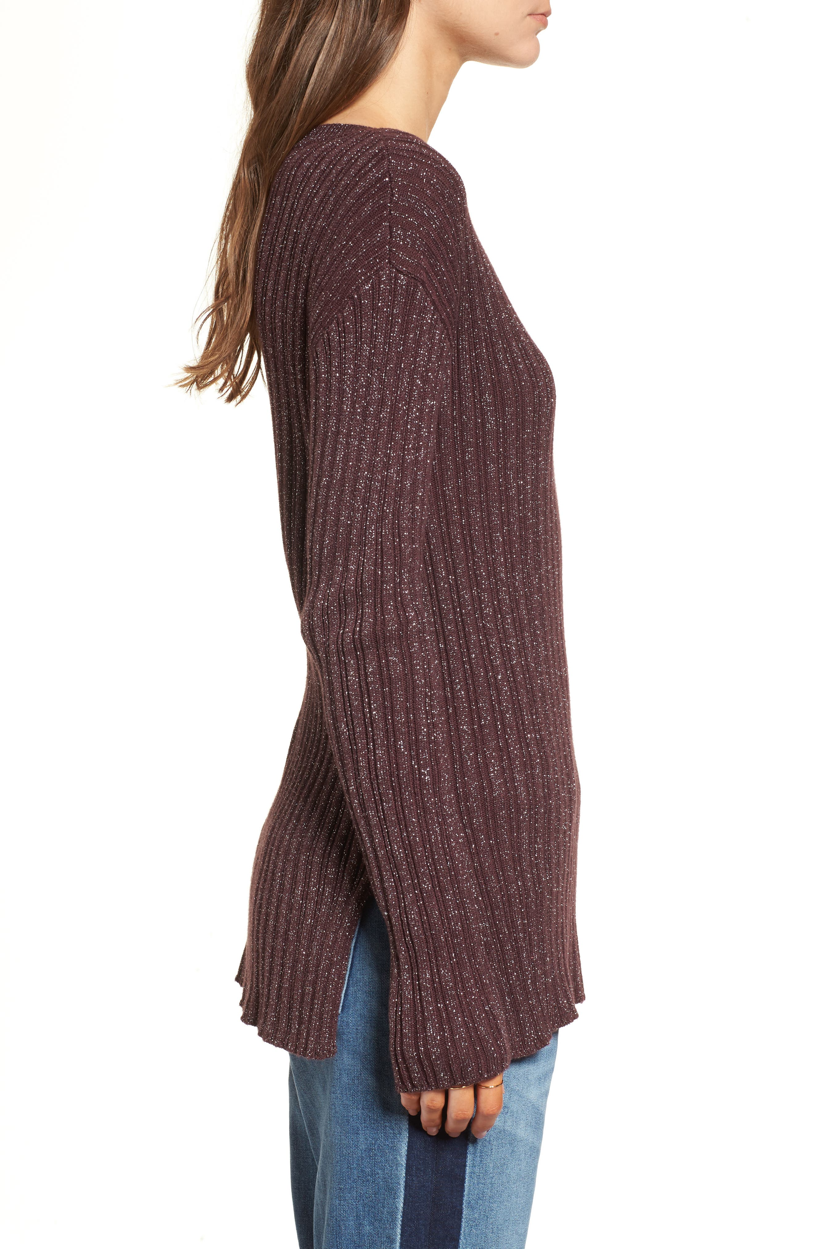Metallic Ribbed Sweater,                             Alternate thumbnail 3, color,                             Burgundy Silver Combo