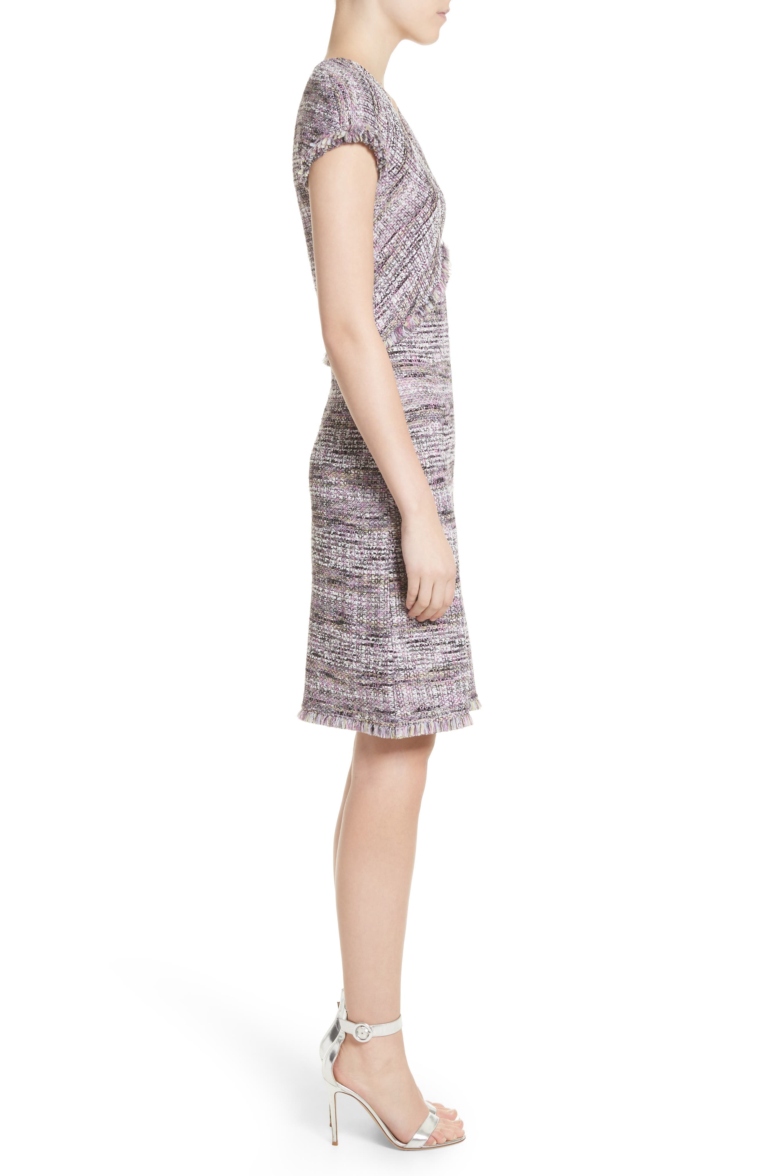 Anna Stripe Tweed Dress,                             Alternate thumbnail 3, color,                             Orchid Multi
